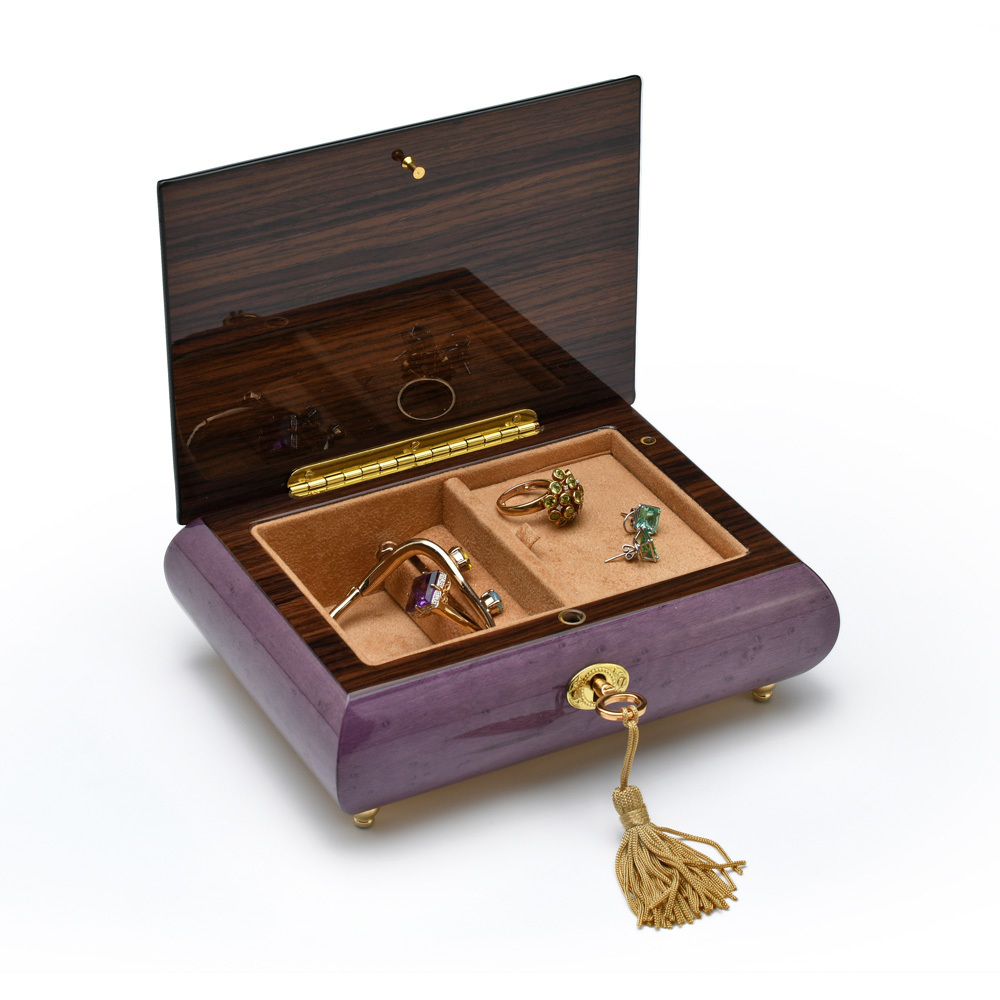 Gorgeous Handcrafted Purple 18 Note Music Jewelry Box with Traditional Floral Inlay