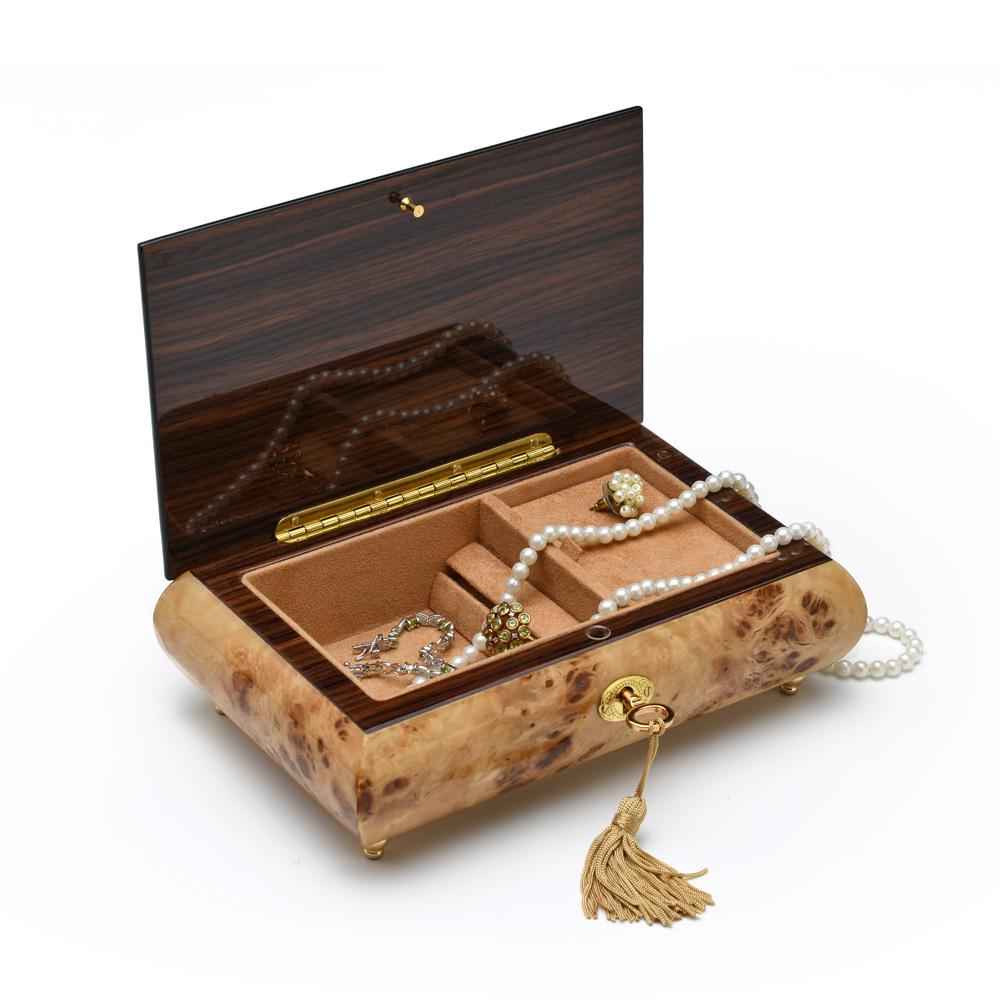 Handmade Birds Eye Maple Single Pink Rose 36 Note Musical Jewelry Box