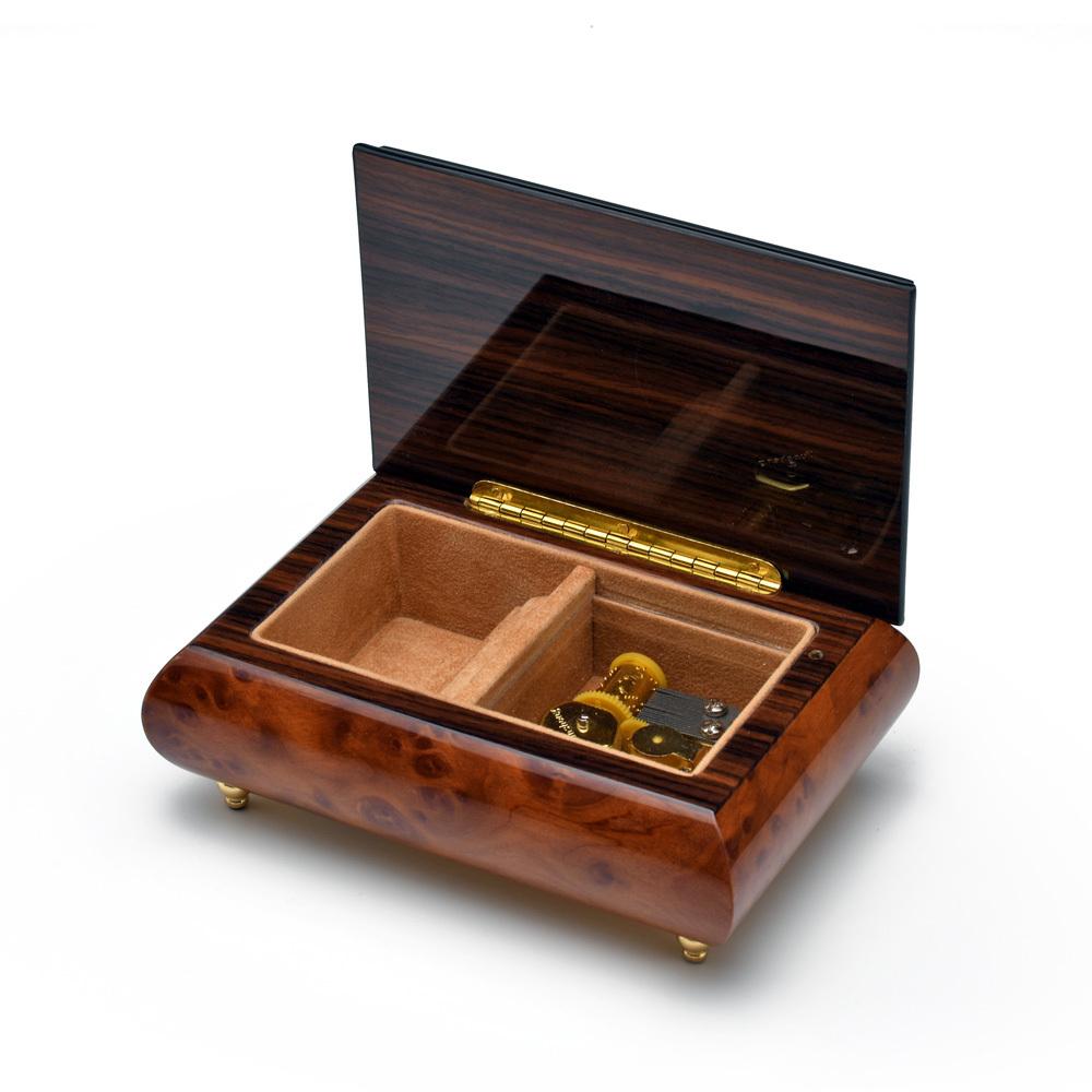 Gorgeous Burl-Elm Arabesque Inlay 18 Note Music Jewelry Box