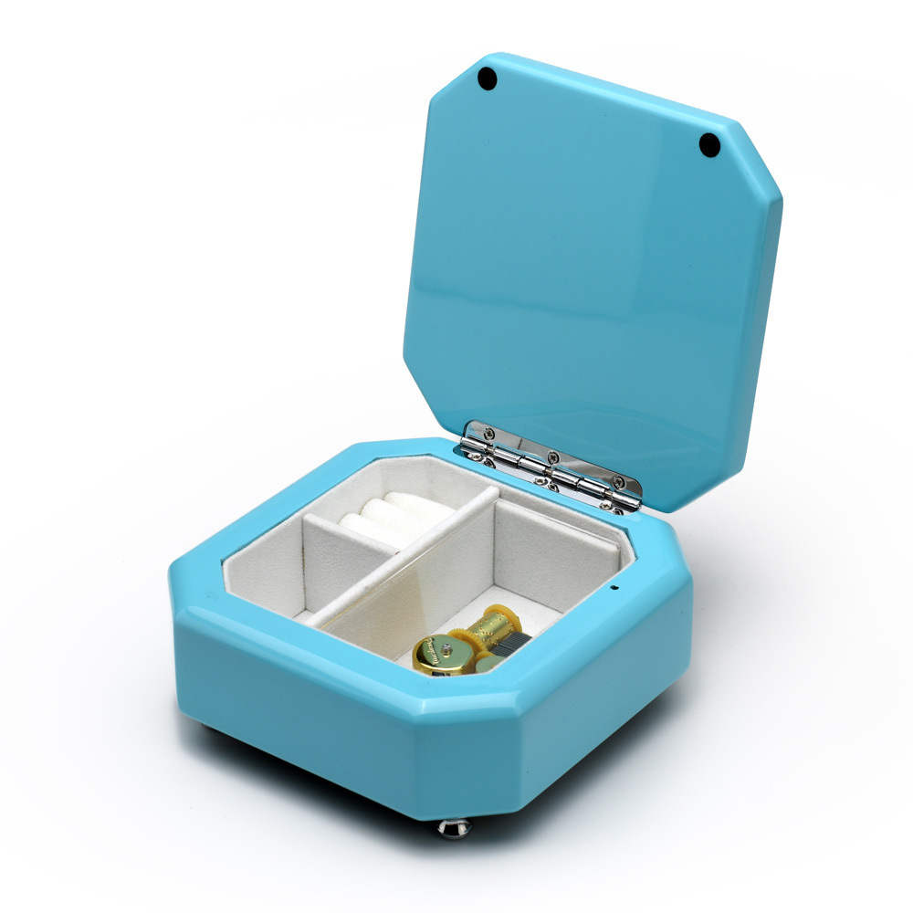 Breathtaking 18 Note Tiffany Blue Musical Jewelry Box with Silver Hardware