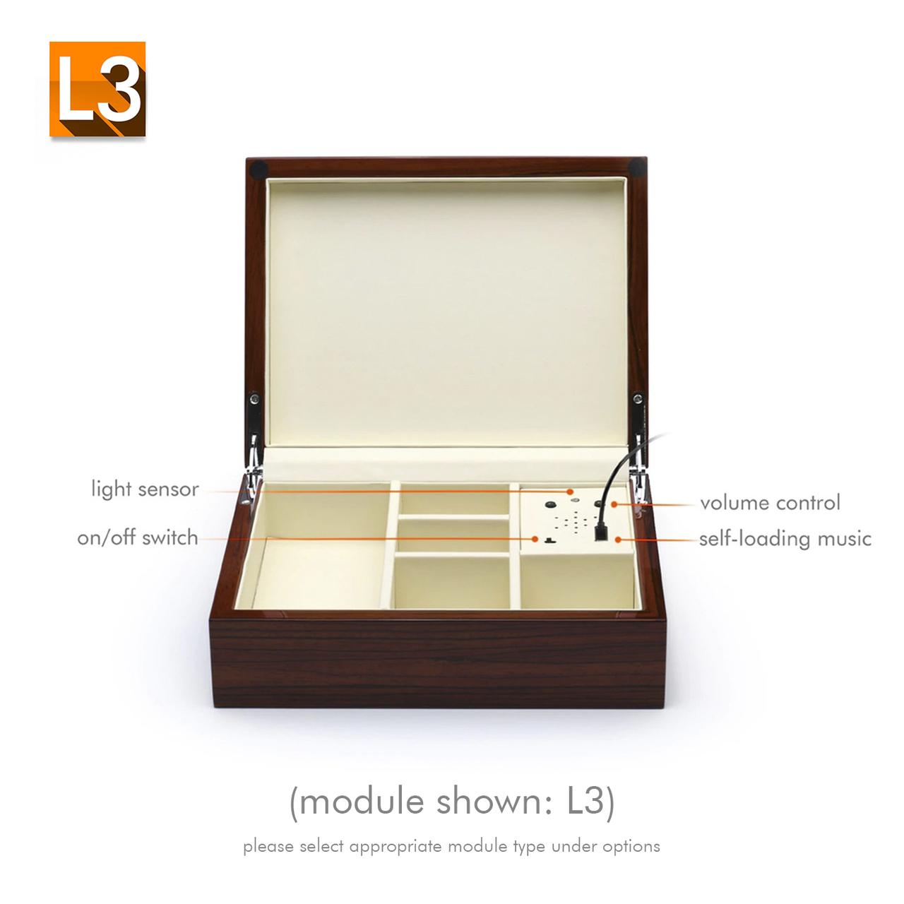 Ultra-Sleek Zebra Finish USB Sound Module Music Jewelry Box