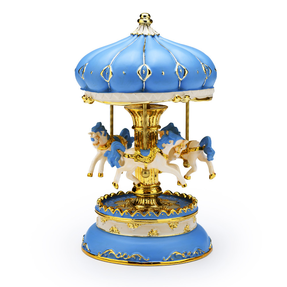 Dazzling Blue and Gold Accented Animated Musical Carousel Keepsake