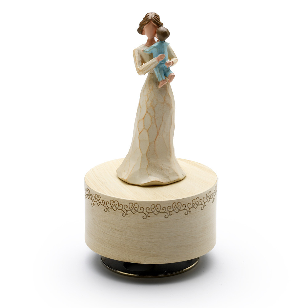 Carved Wooden Design - Sculpted Mother Holding Baby - Choose Your Song