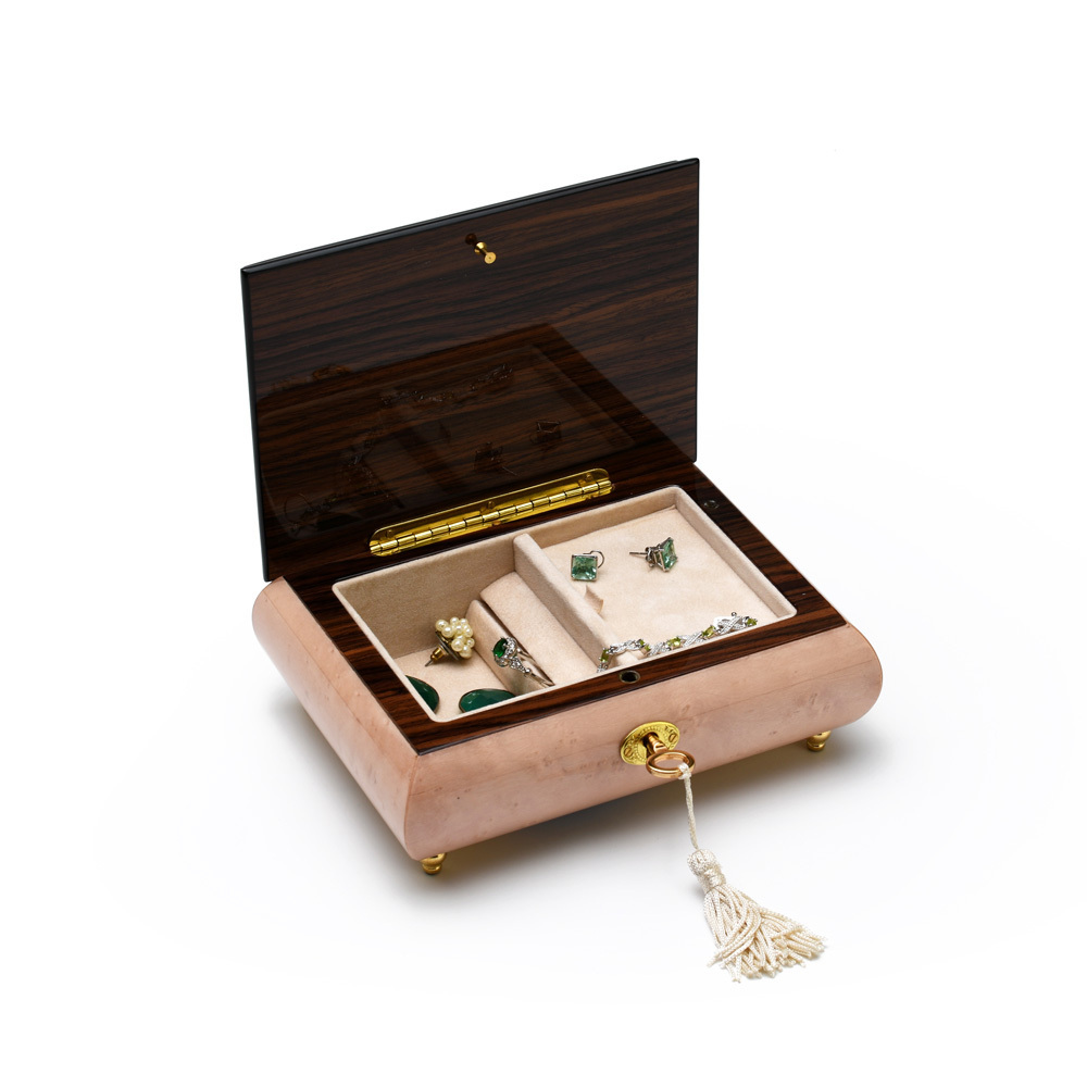 Adorable 18 Note Pink Italian Musical Jewelry Box with Swans Wood Inlay