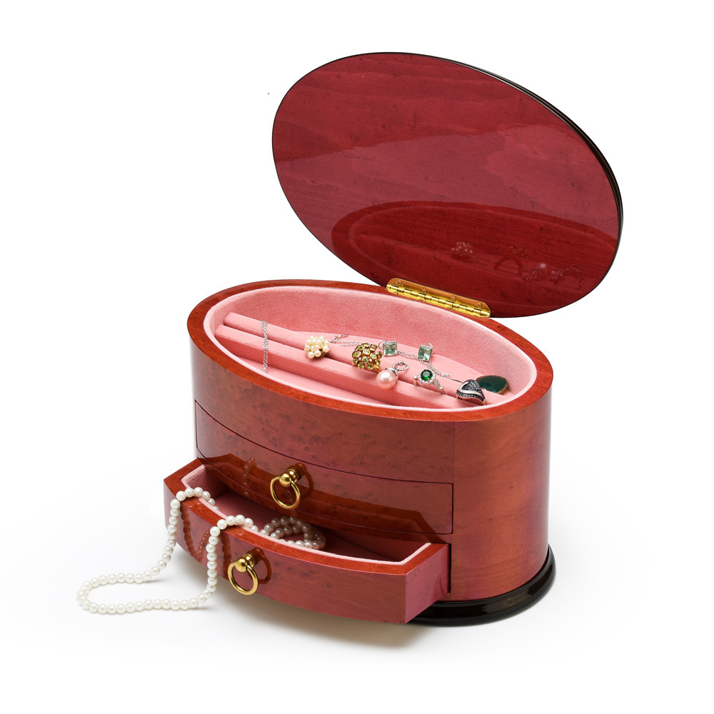 Spacious Oval Shaped 18 Note Red-Wine Italian Musical Jewelry Box