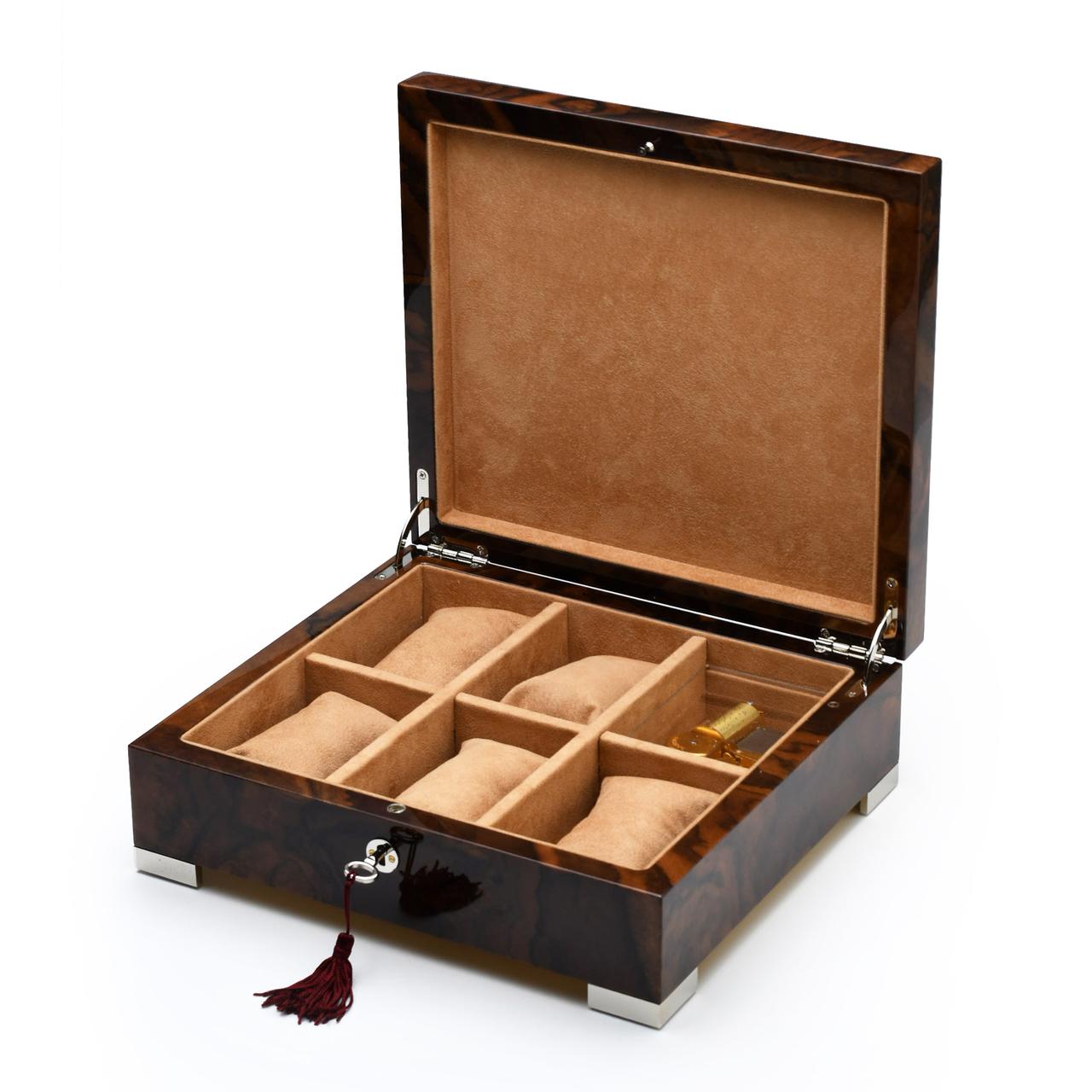Handcrafted Italian Burl-Walnut 5 Watch 36 Note Musical Masterpiece