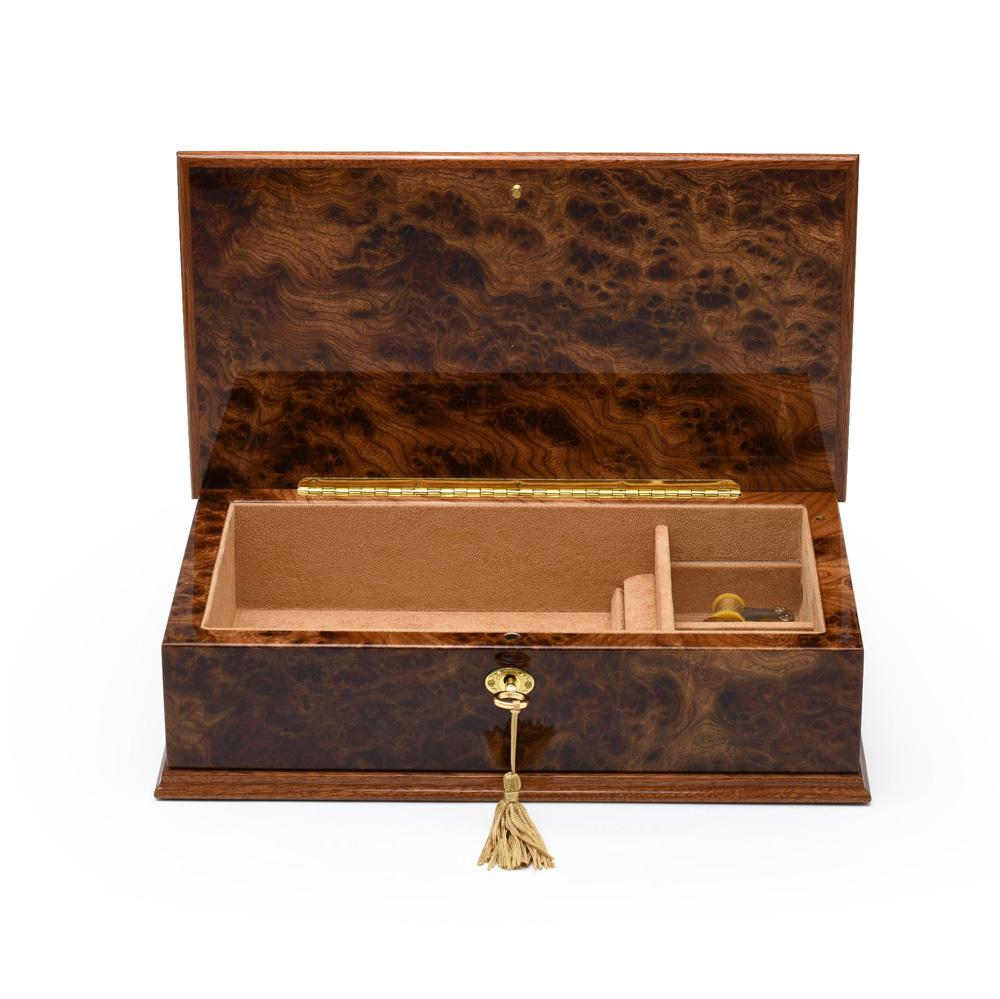 Amazing 18 Note Burl-Elm Grand Italian Arabesque Wood Inlay Musical Jewelry Box