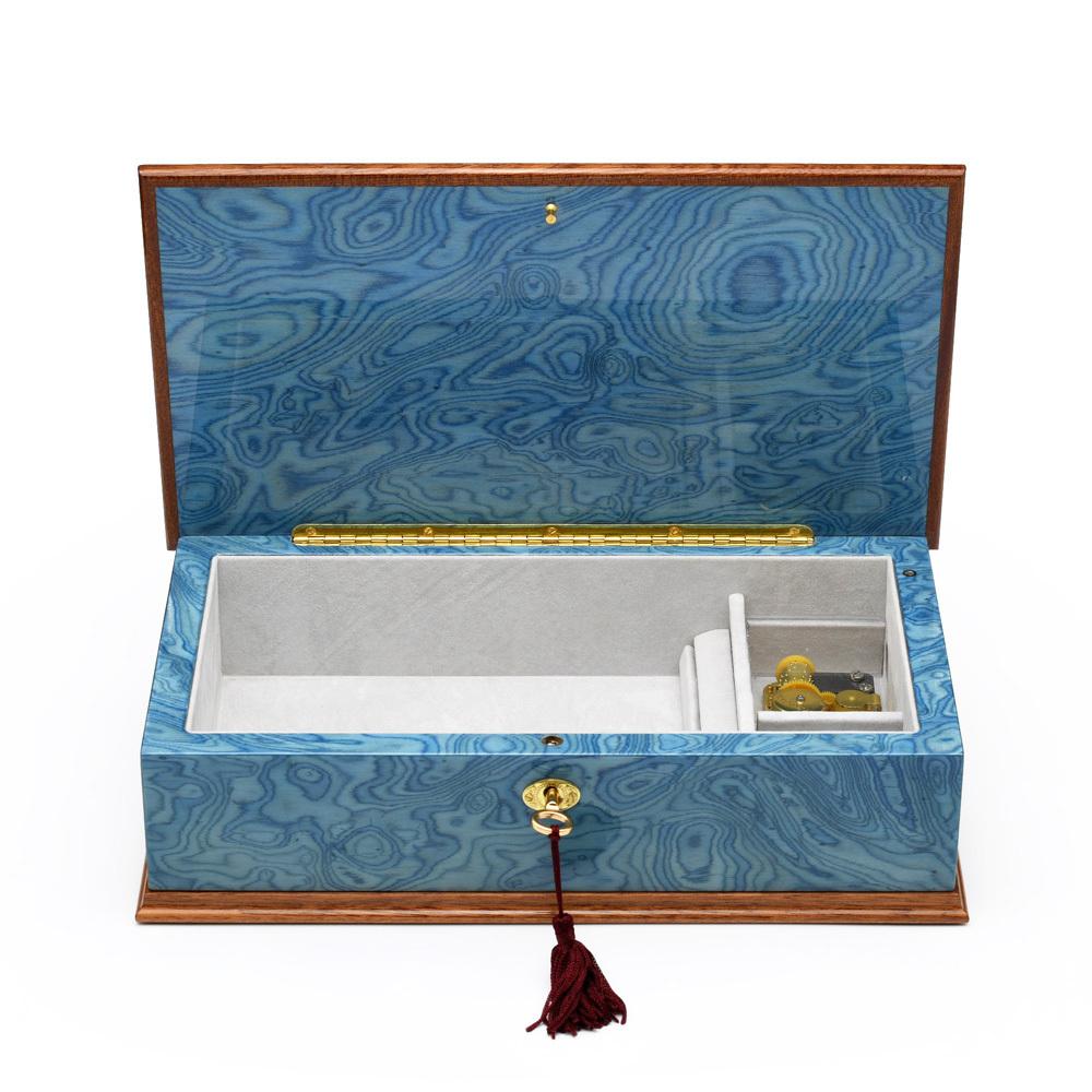 Gorgeous Italian Sea Blue 18 Note Grand Arabesque Wood Inlay Musical Jewelry Box