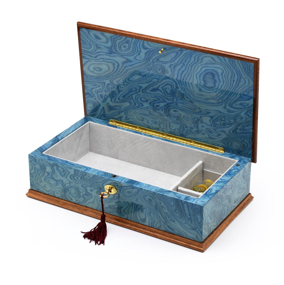 Gorgeous Italian Sea Blue 36 Note Grand Arabesque Wood Inlay Musical Jewelry Box