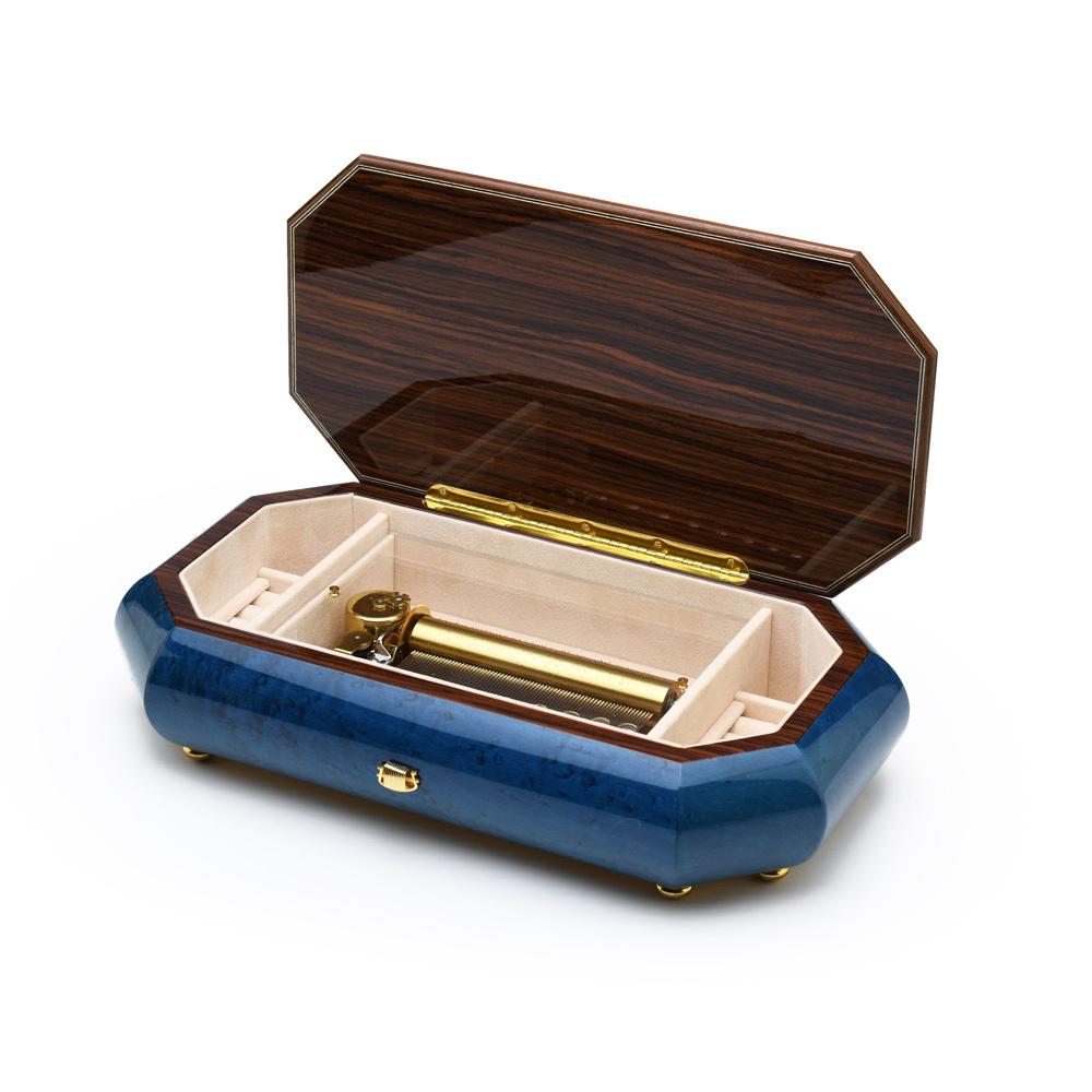 Royal Blue Swiss 72 Note Italian Musical Instrument Theme Inlay Grand Music Jewelry Box