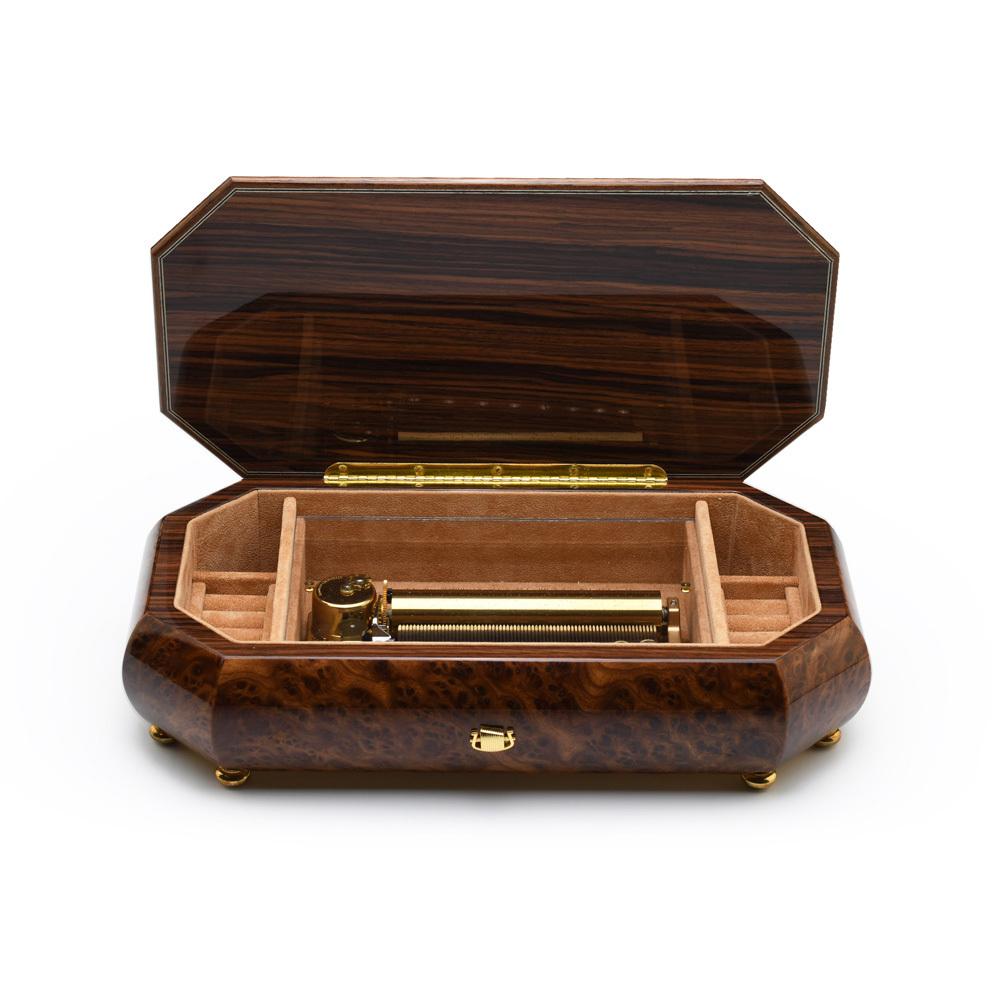 Burl-Elm Grand Italian 72 Note Sankyo Musical Instrument Theme Wood Inlay