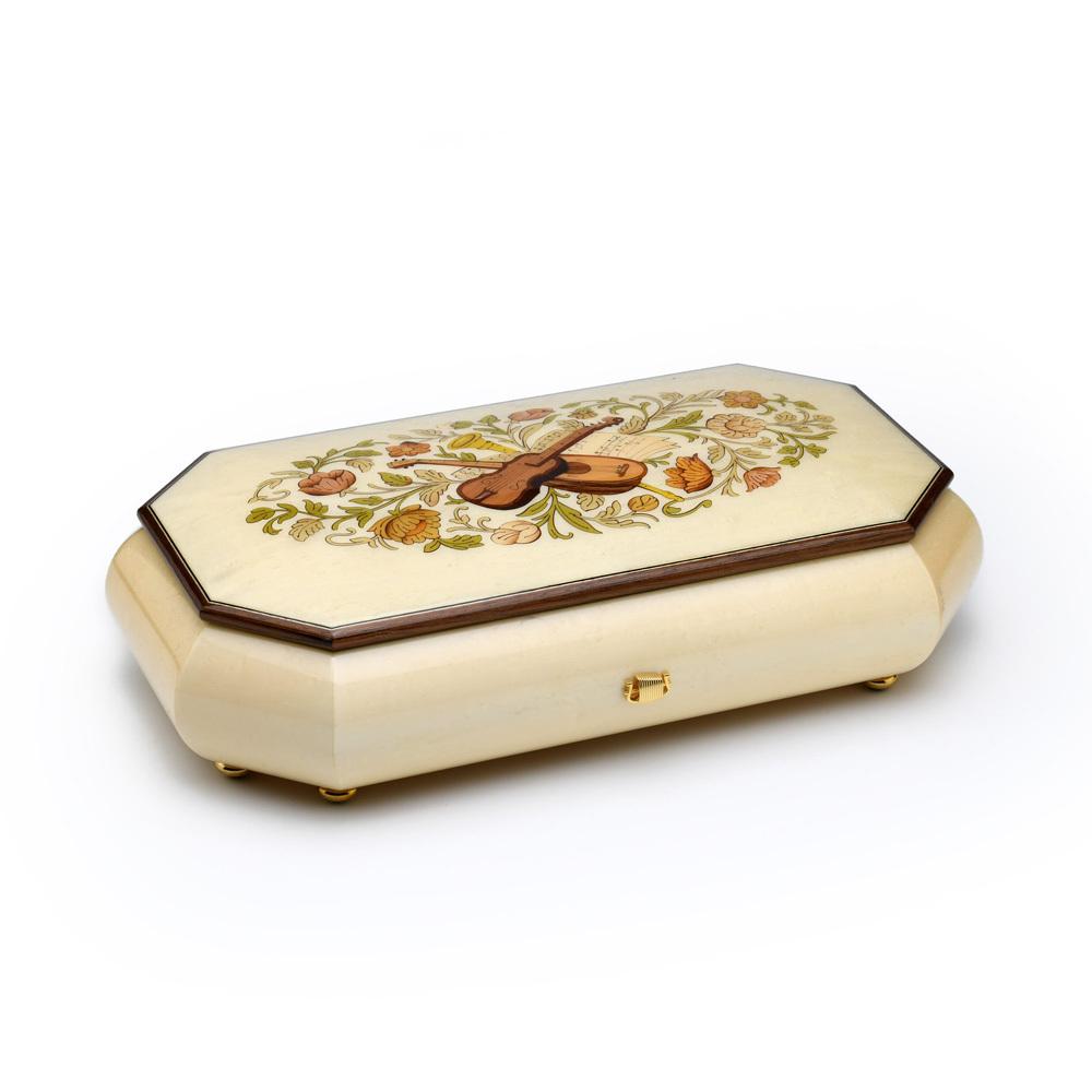 Grand Italian Ivory Stain 72 Note Sankyo Musical Instrument Theme Wood Inlay Music Box