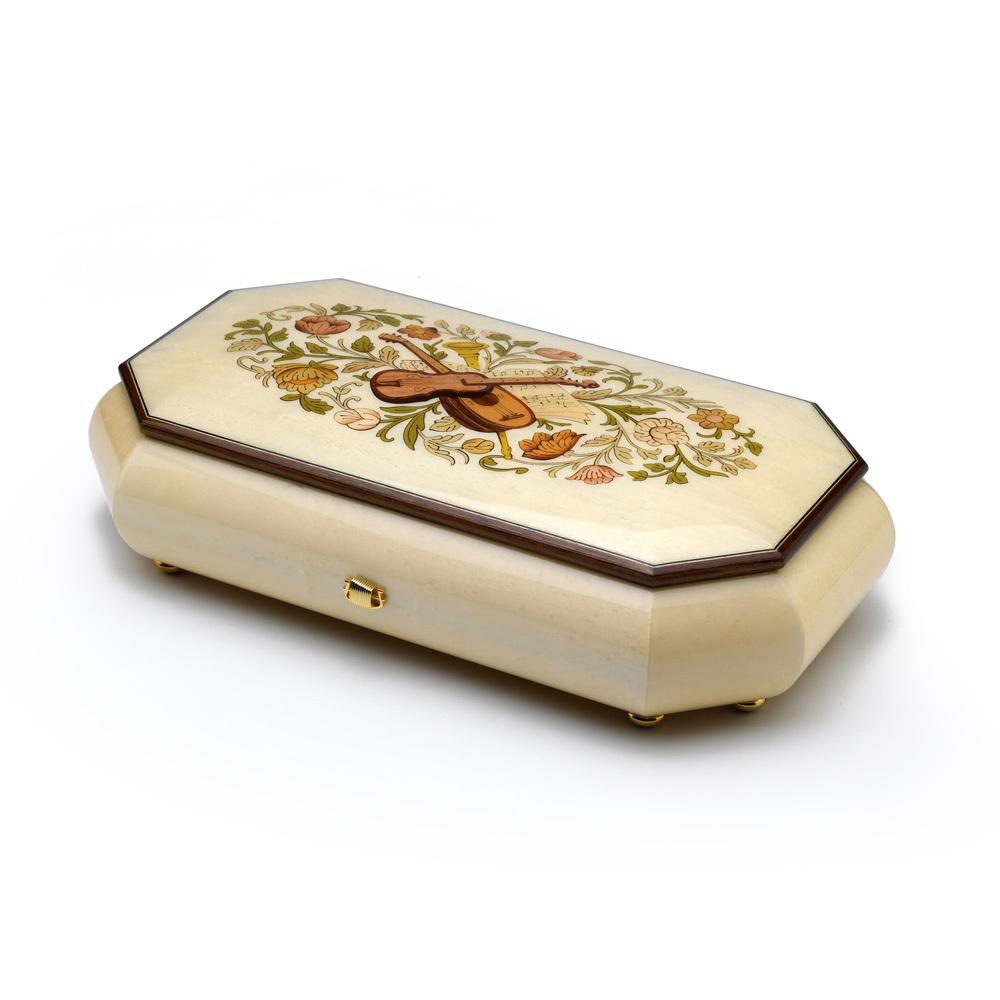 Grand Italian Ivory Stain Swiss 72 Note Musical Instrument Theme Wood Inlay Music Box