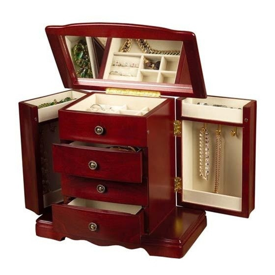 Spacious 18 Note Musical Cherry Jewelry Box - Harmony by Mele