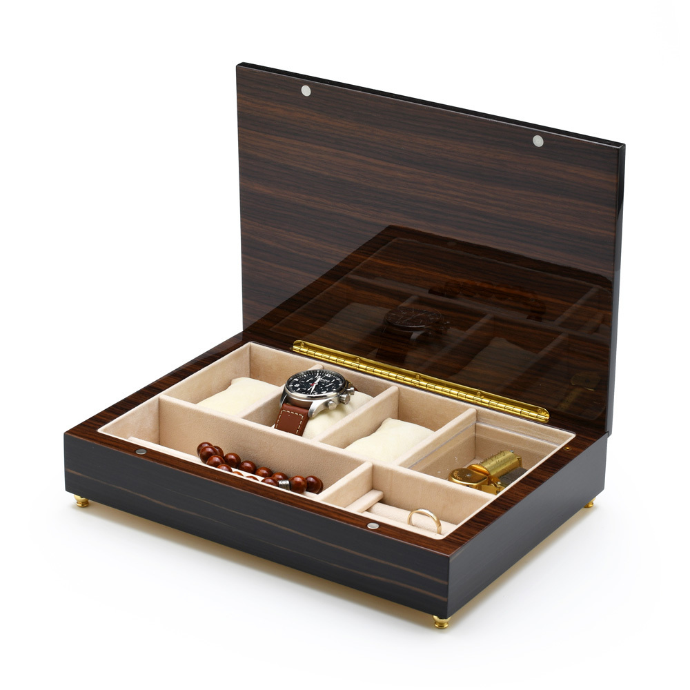 Handcrafted Italian Classic Style Inlay 18 Note Ebony Musical Valet / Watch Box