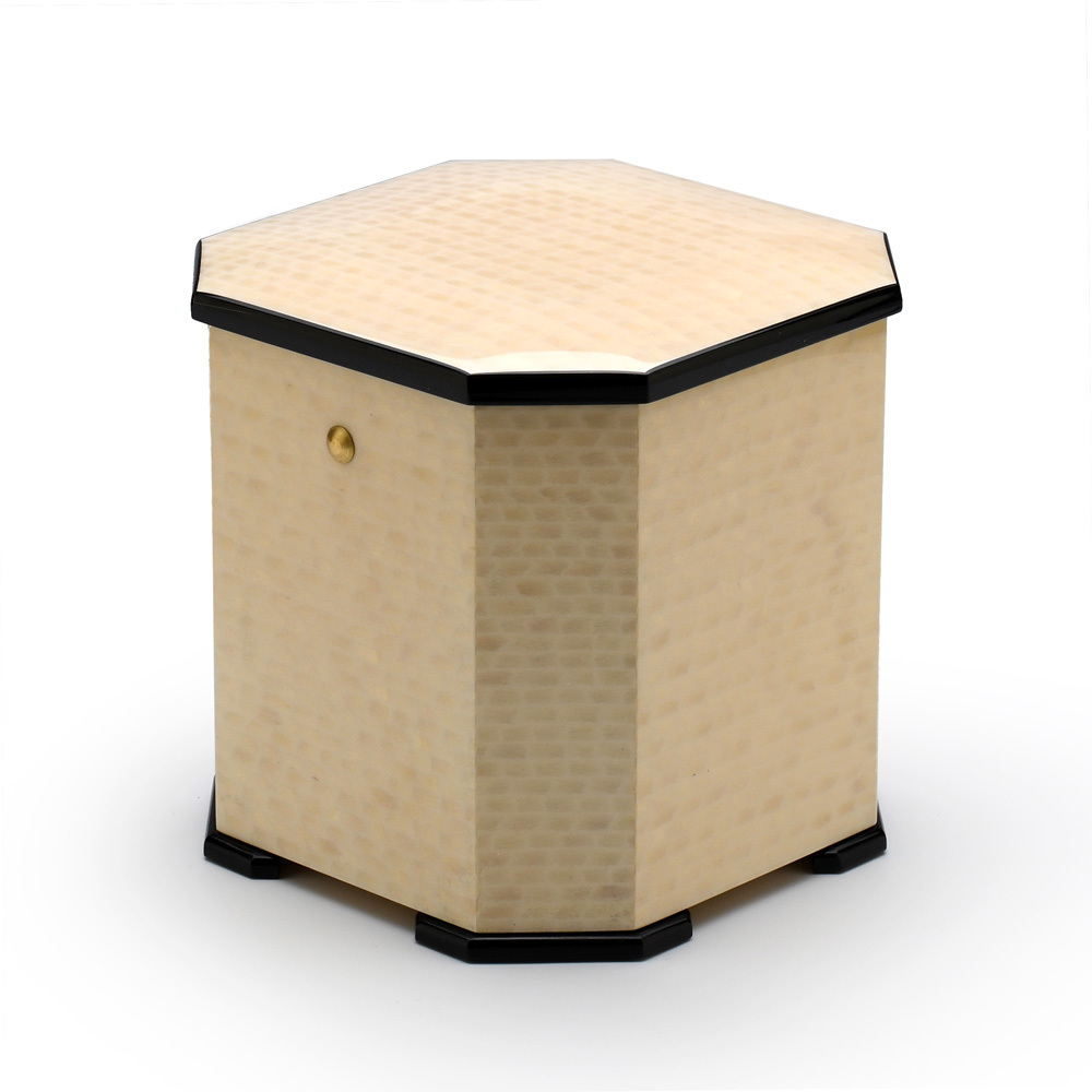 Harmonious Masonry Inspired Handcrafted Italian Ivory Stained 36 Note Musical Jewelry Box