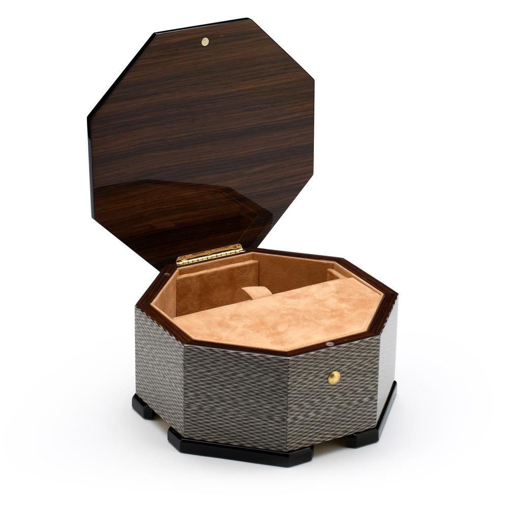 Handmade Italian Modern Design Wood Inlay Octagonal 36 Note Musical Jewelry Box
