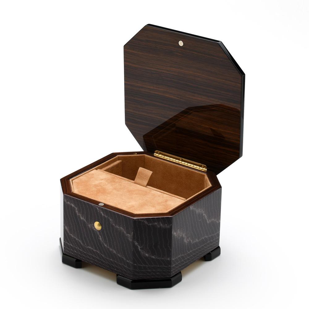 Exotic Dark Purple Handcrafted Italian Octagonal 18 Note Musical Jewelry Box