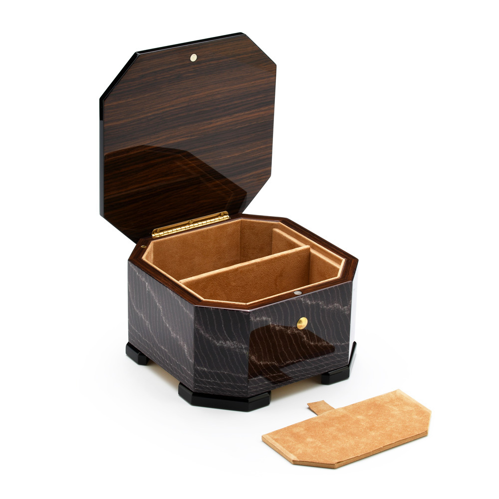 Exotic Dark Purple Handcrafted Italian Octagonal 36 Note Musical Jewelry Box