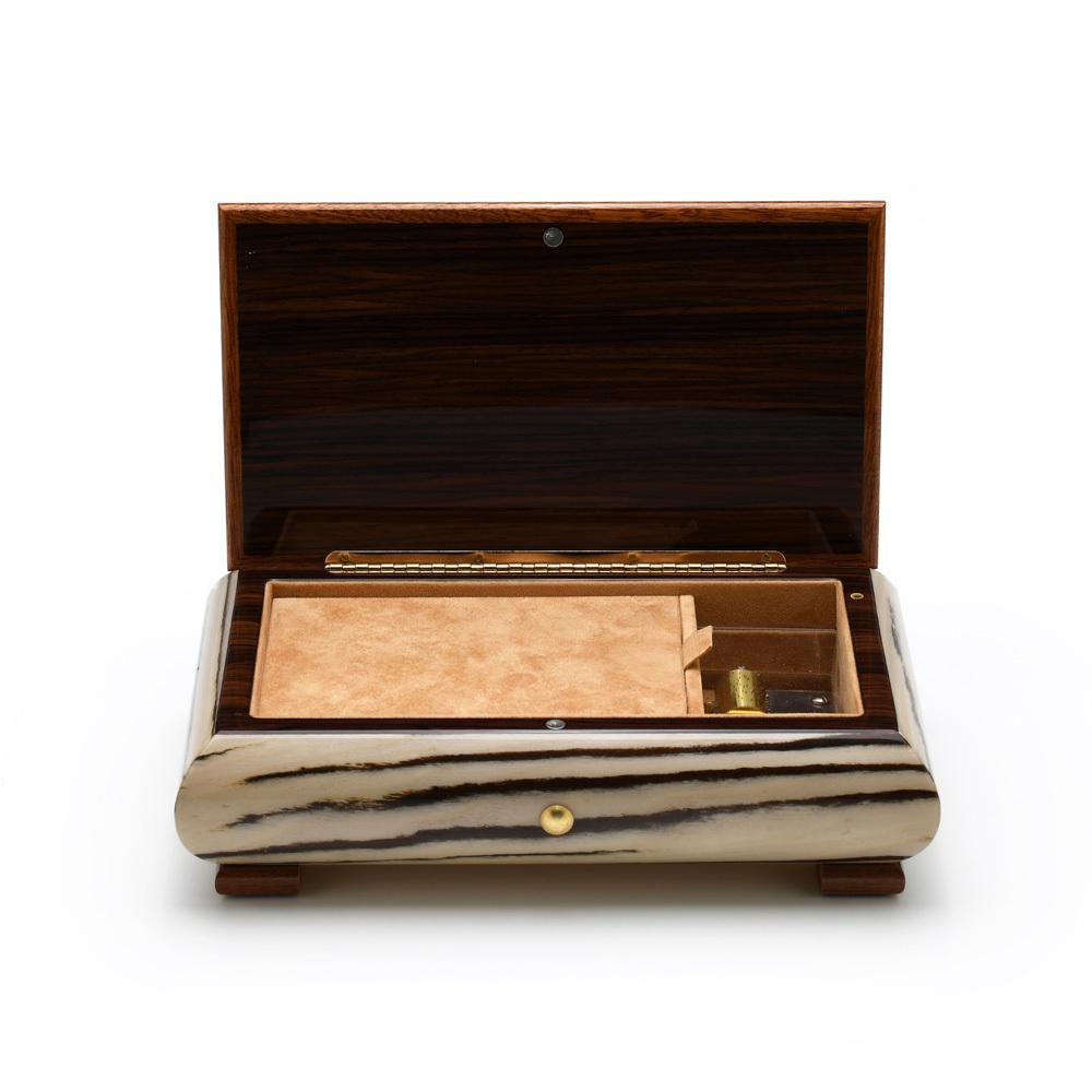 Brilliant Handcrafted Italian Zebra Striped Wood Inlay 22 Note Musical Jewelry Box