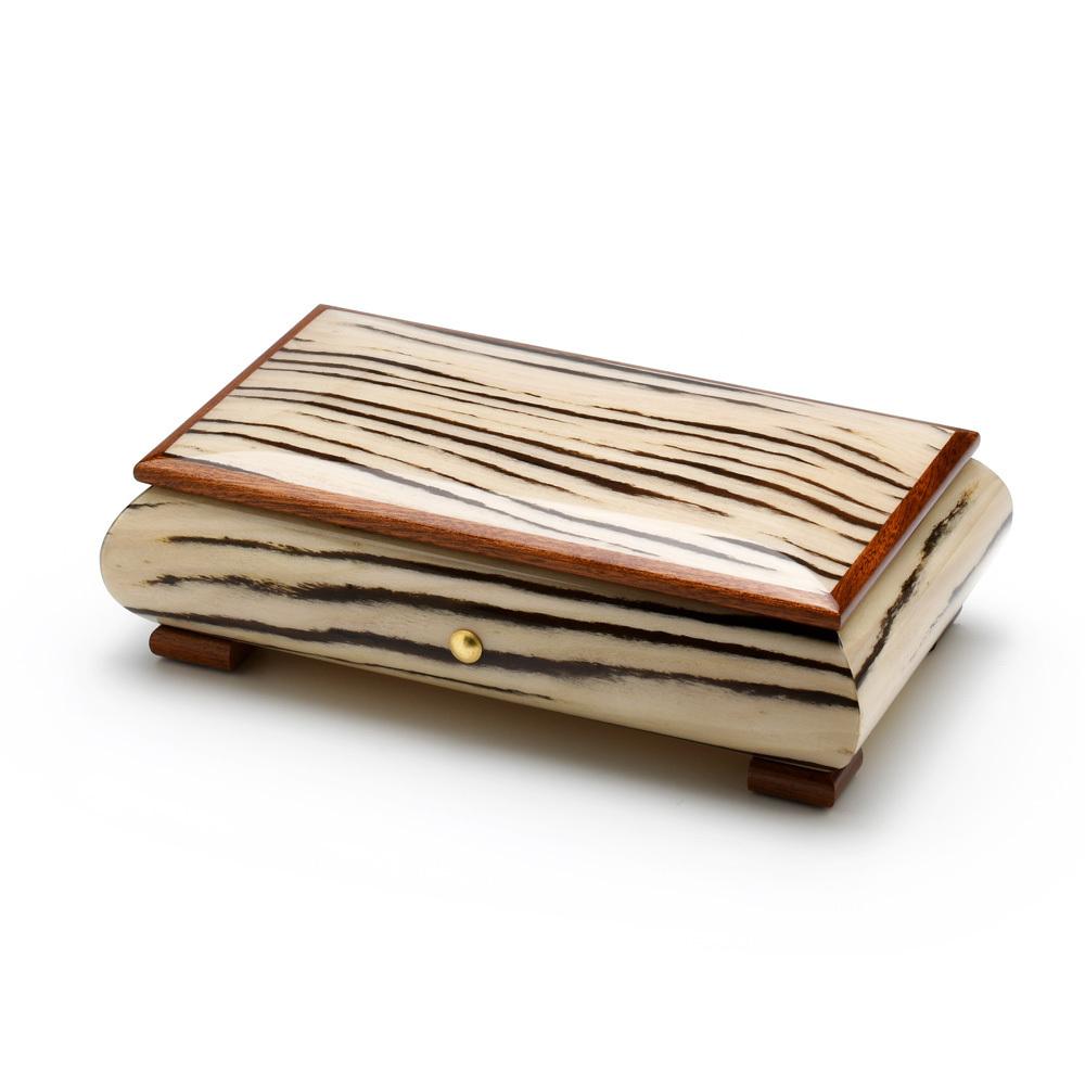 Brilliant Handcrafted Italian Zebra Striped Wood Inlay 36 Note Musical Jewelry Box