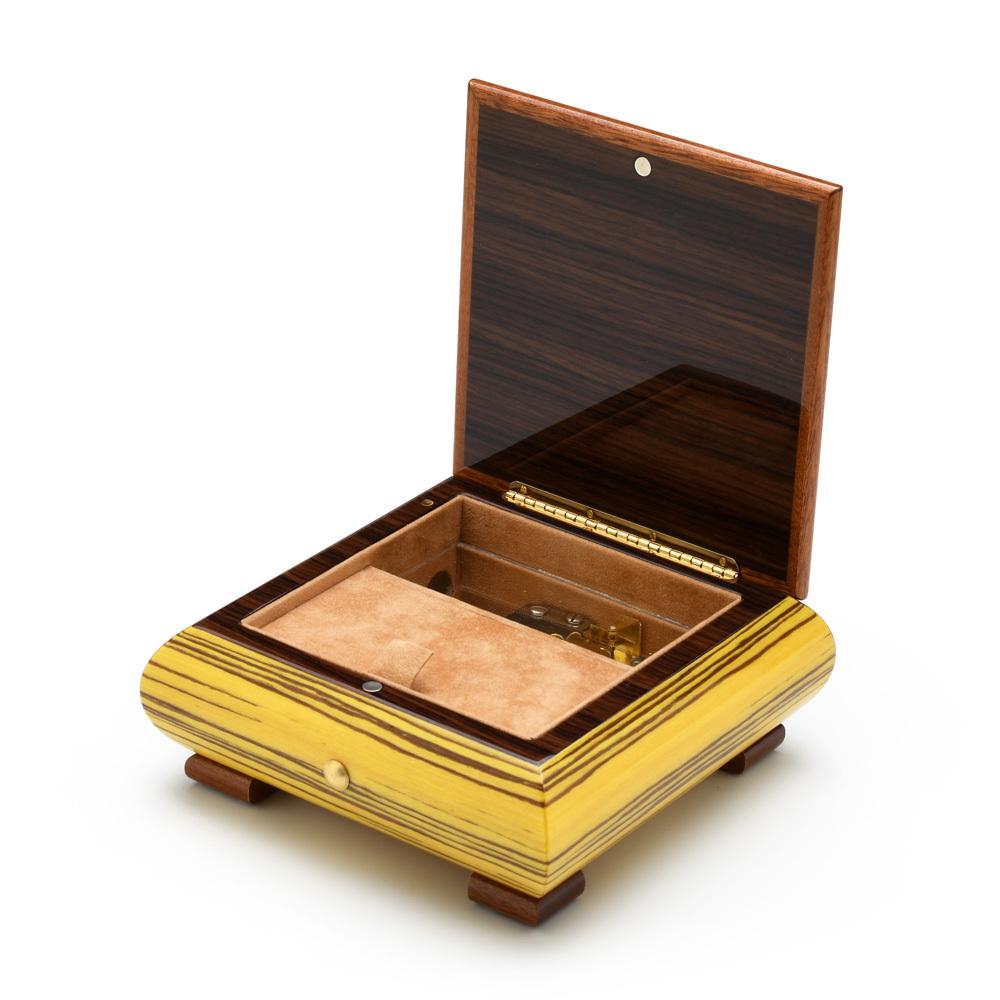 Brilliant Artistic Sunrise Inlay Handcrafted Italian 22 Note Musical Jewelry Box