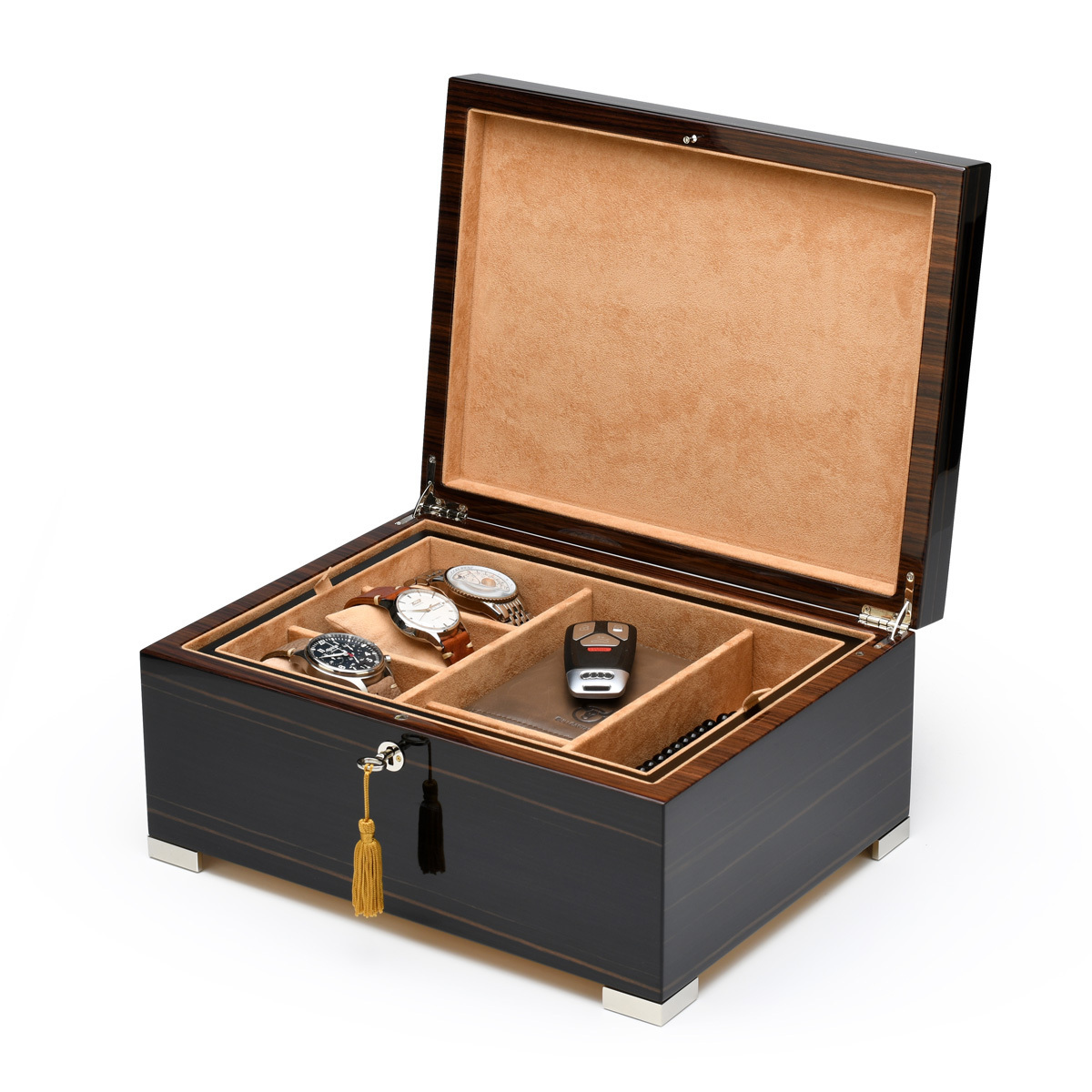 Luxurious Italian 18 Note Grandiose Ebony Music Mens Valet Box w Removable Tray and Phone Charging