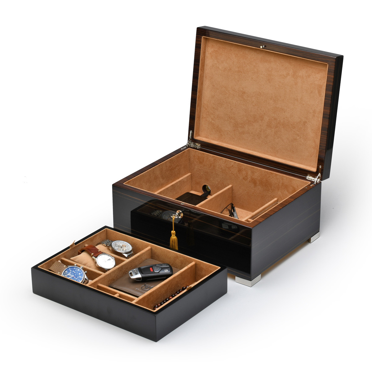 Luxurious Italian 22 Note Grandiose Ebony Music Mens Valet Box w Removable Tray and Phone Charging