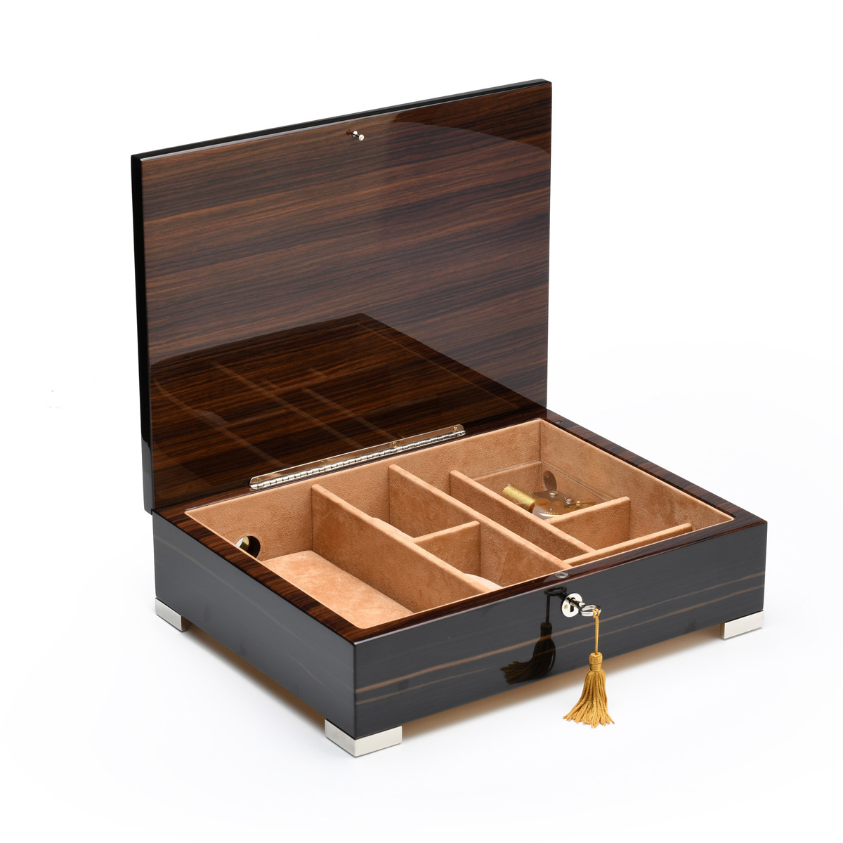 Handcrafted Classic Italian Ebony Finish 18 Note Music Mens Valet Box Charging Cell Phone Pad