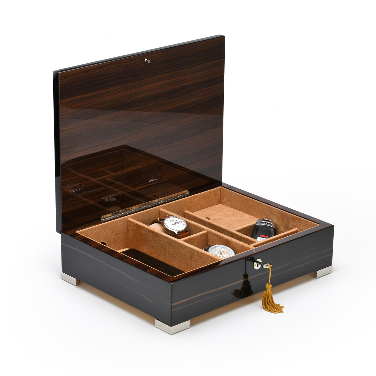 Handcrafted Classic Italian Ebony Finish 36 Note Music Mens Valet Box Charging Cell Phone Pad