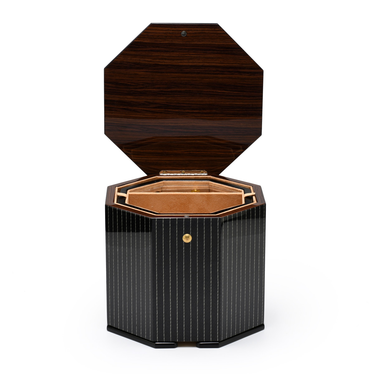Elegant Handcrafted Pin Stripped Italian 22 Note Musical Jewelry Box