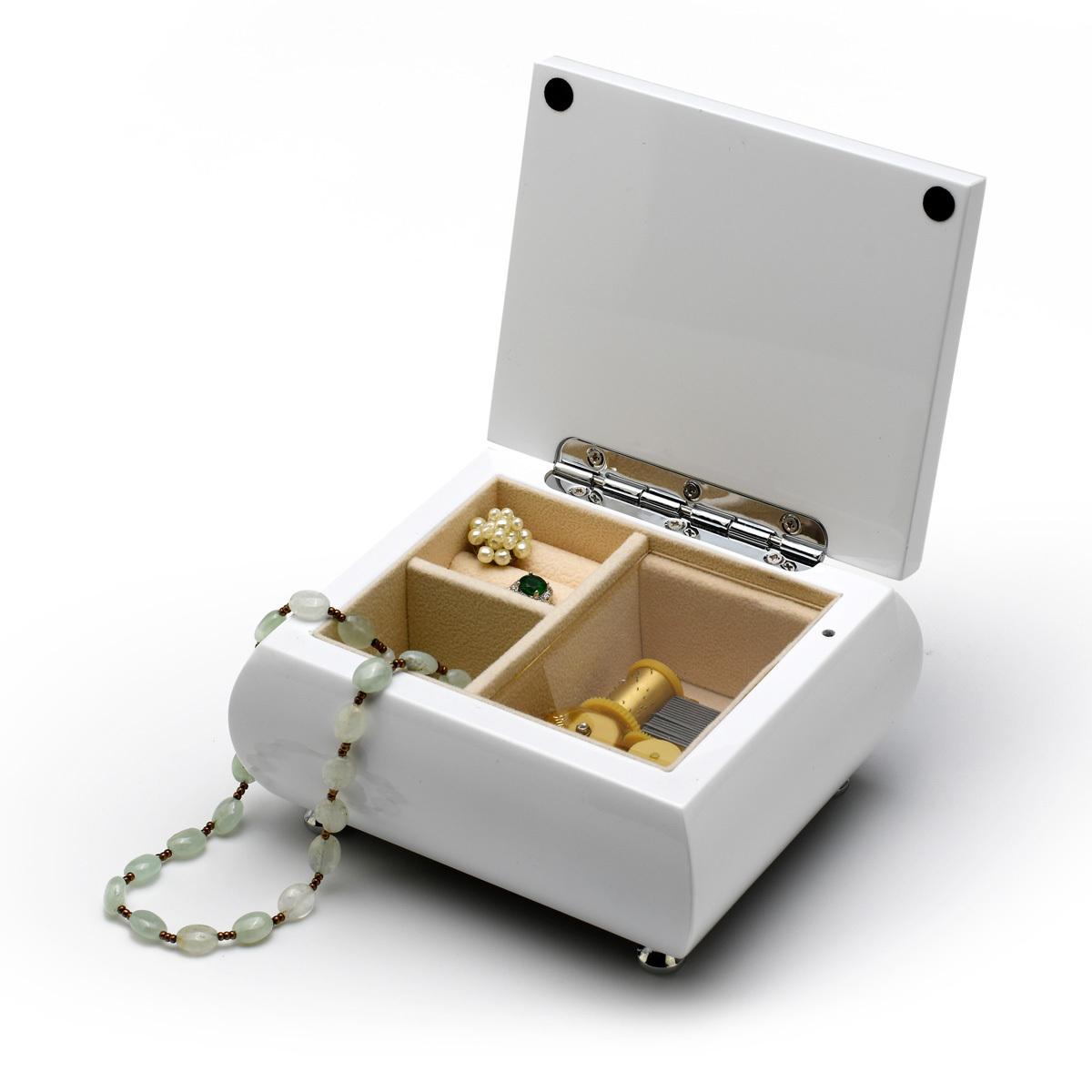 Pristine Hi-Gloss 18 Note White Lacquer Musical Jewelry Box