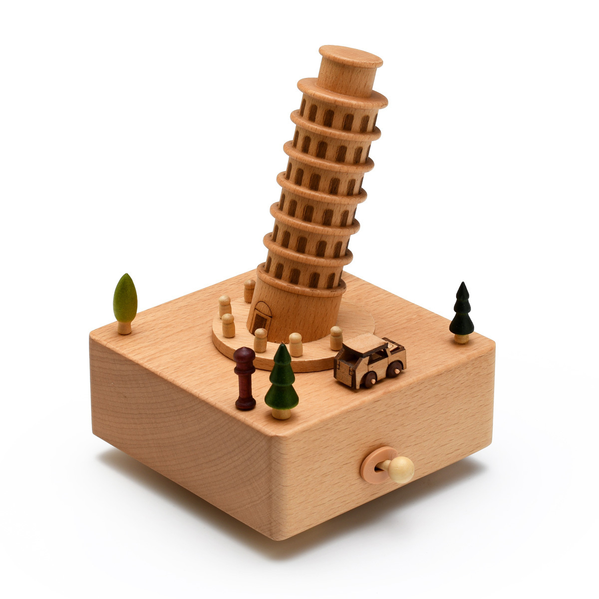 Animated 18 Note Musical Wooden Leaning Tower of Pisa Keepsake
