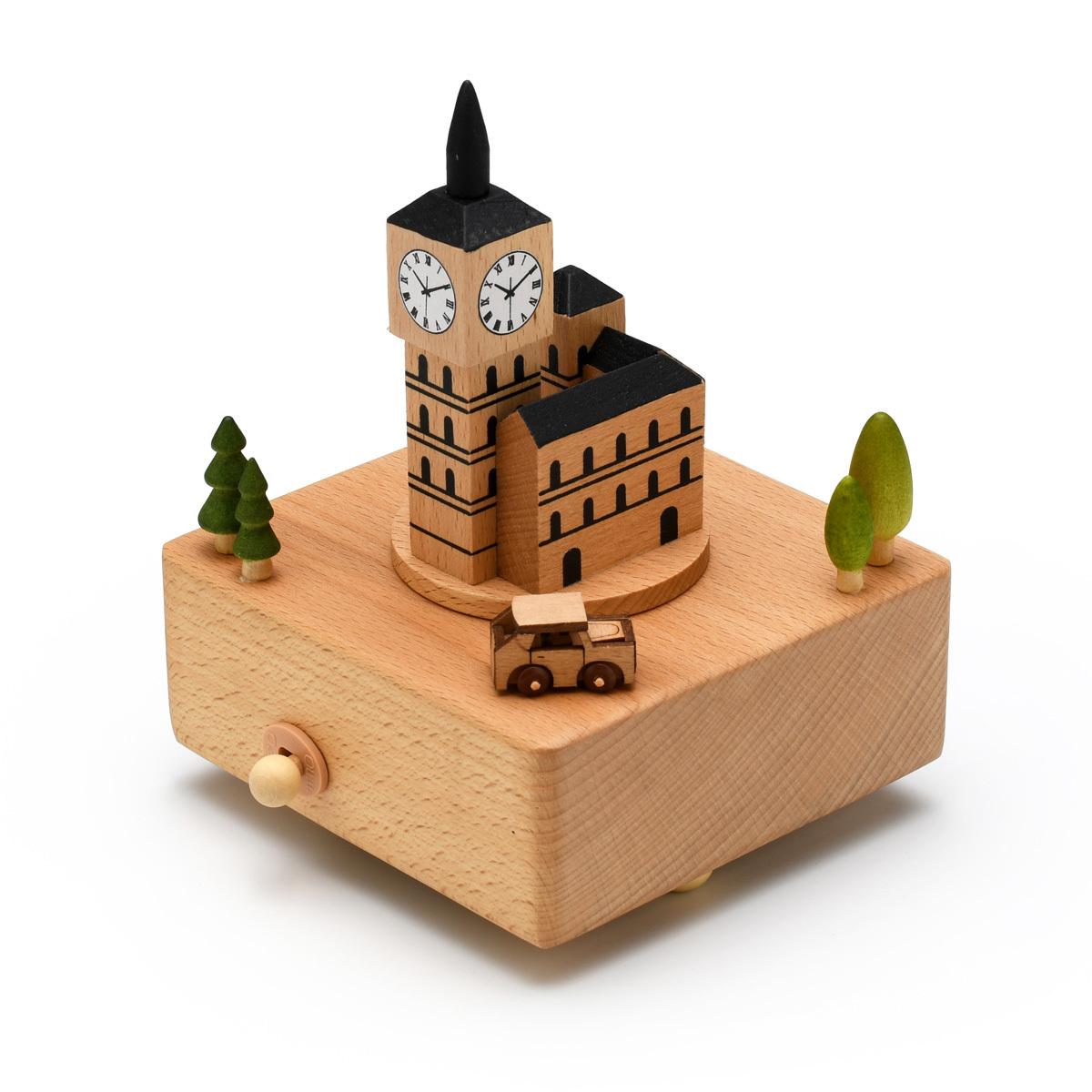 Animated 18 Note Musical Wooden Big Ben Clock Tower Keepsake