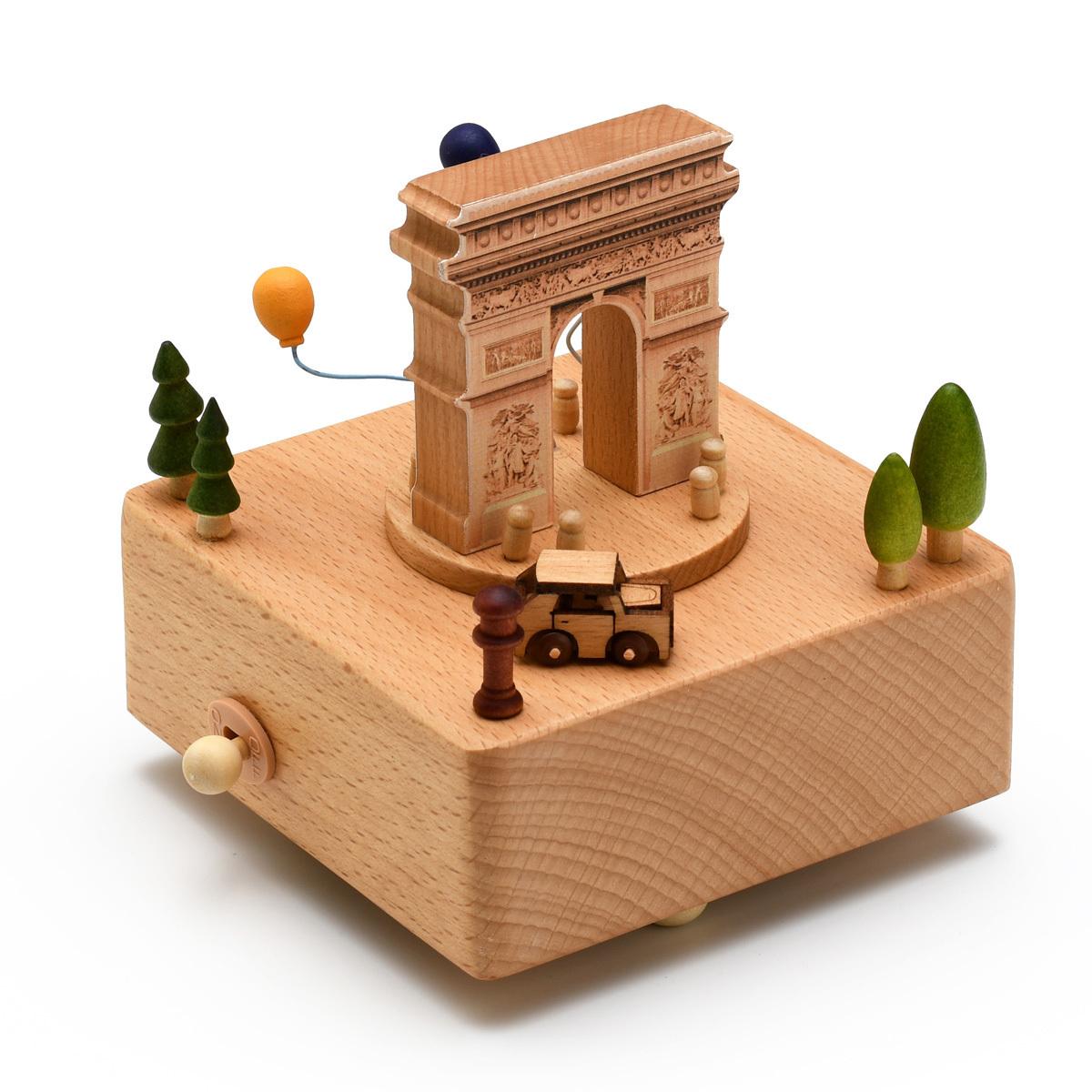 Animated 18 Note Musical Wooden Arc De Triomphe Keepsake