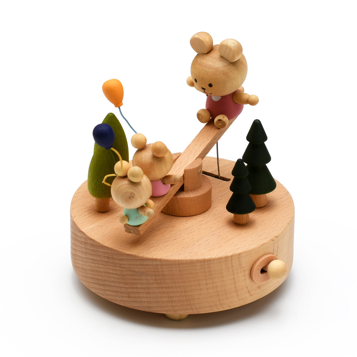 Animated 18 Note Wooden Cute Bears on a See-Saw Musical Keepsake