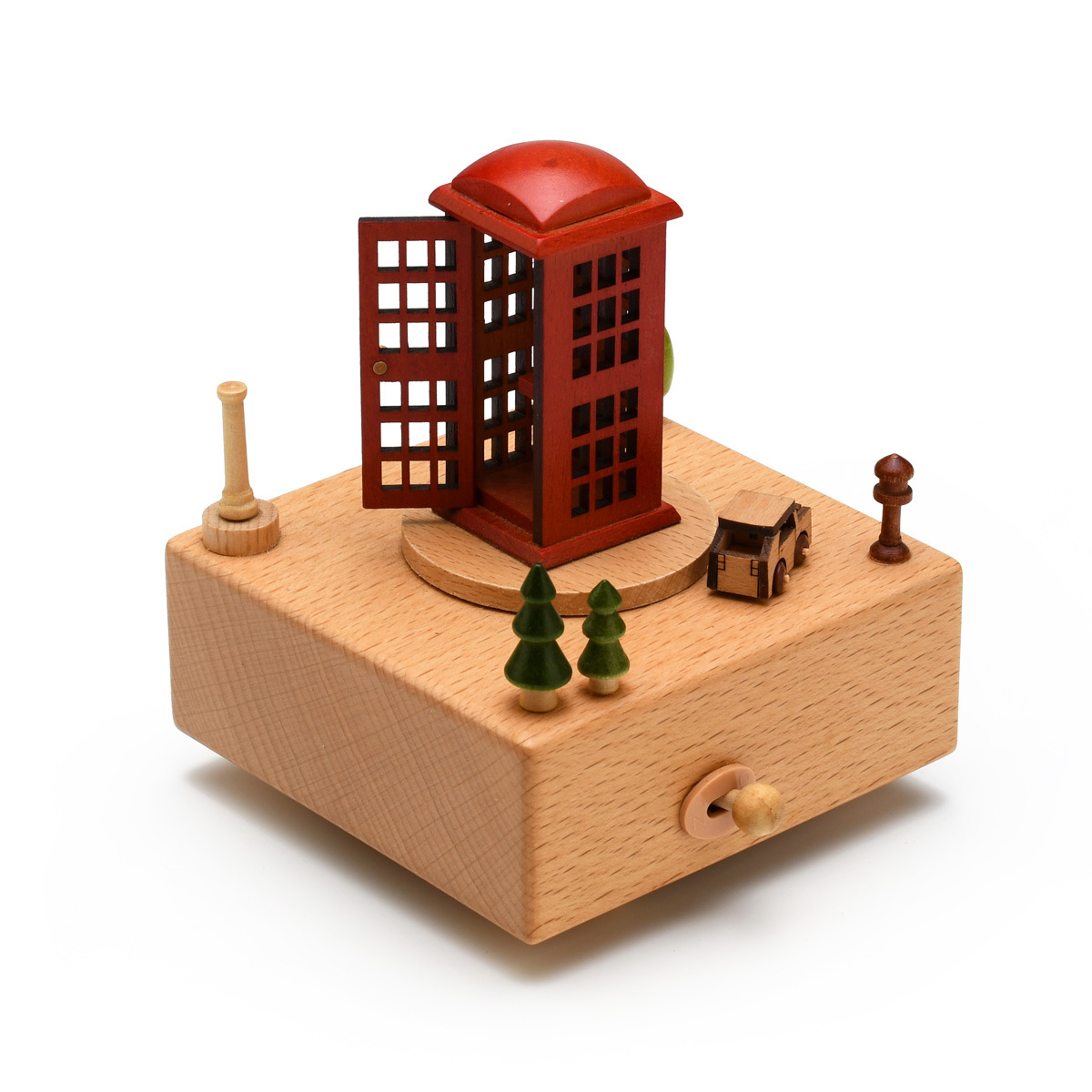 Animated 18 Note Musical Wooden Iconic Red Telephone Box Keepsake
