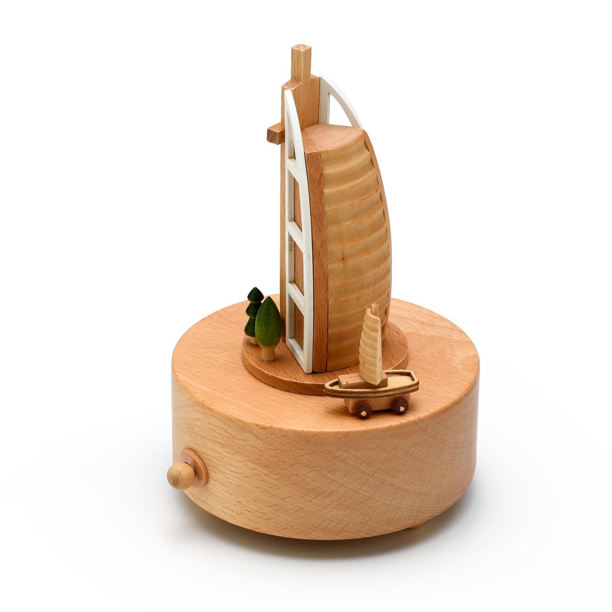 Animated 18 Note Musical Wooden Sail building Dubai Keepsake