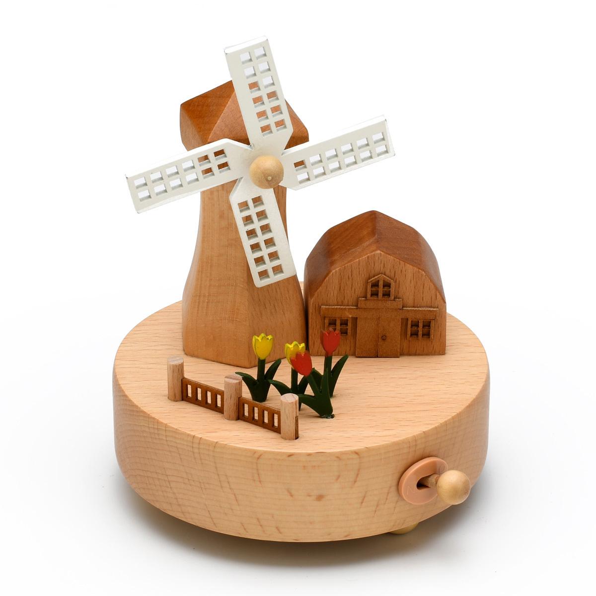 Animated 18 Note Musical Wooden Dutch Windmill Keepsake