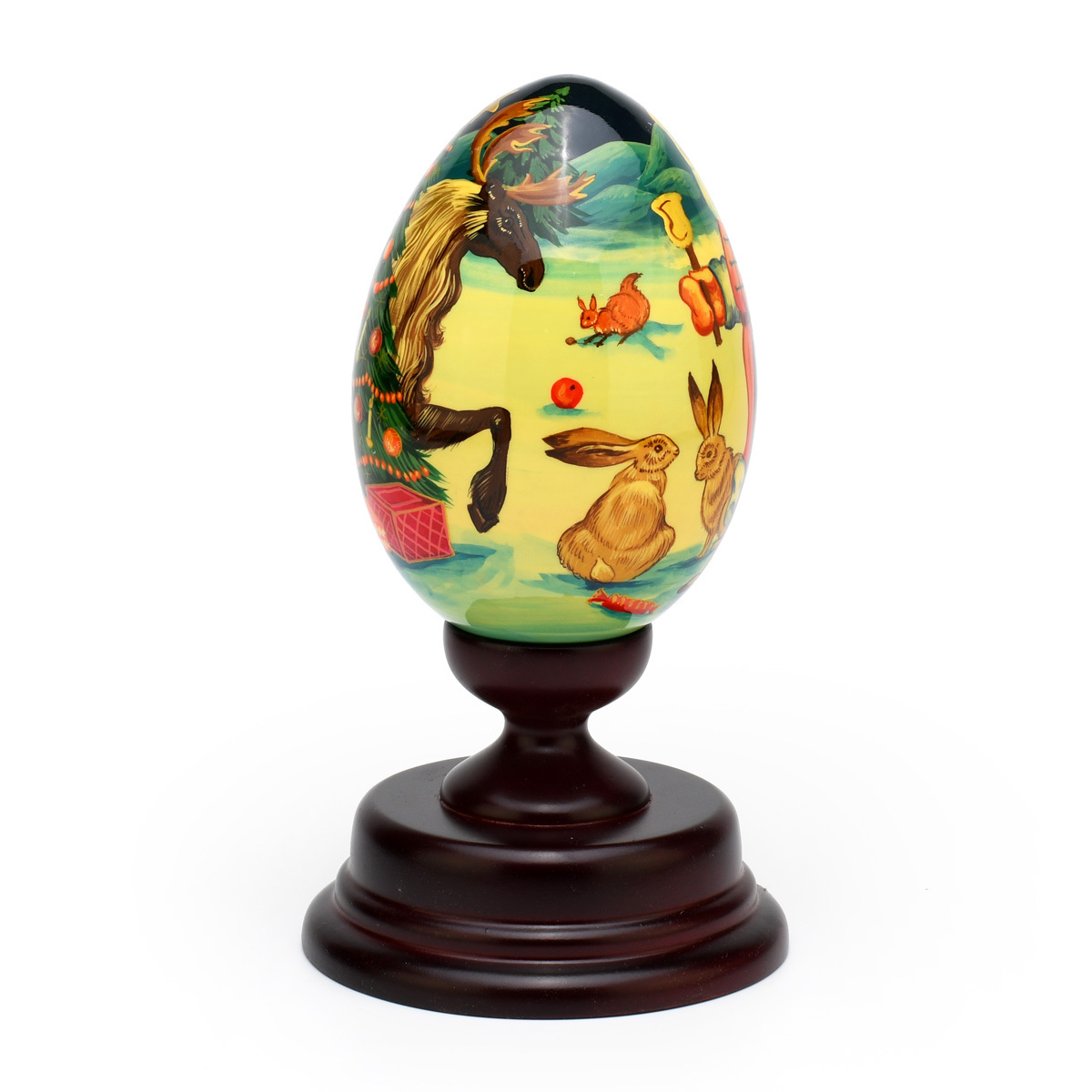 Limited Edition Reuge Hand-Painted Russian Egg with Holiday Christmas Theme