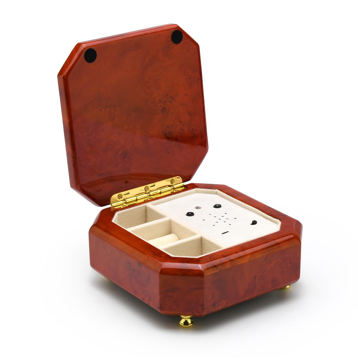 Octagonal Beveled Wood Tone Custom USB Module Music Box