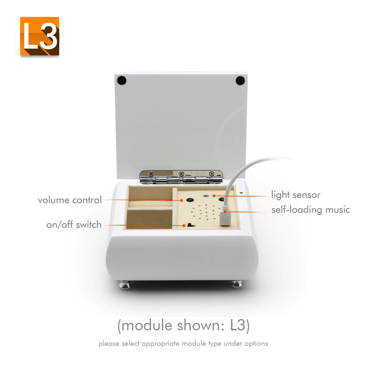 Pristine Hi-Gloss White Lacquer Custom USB Module Music Box TOP DEAL