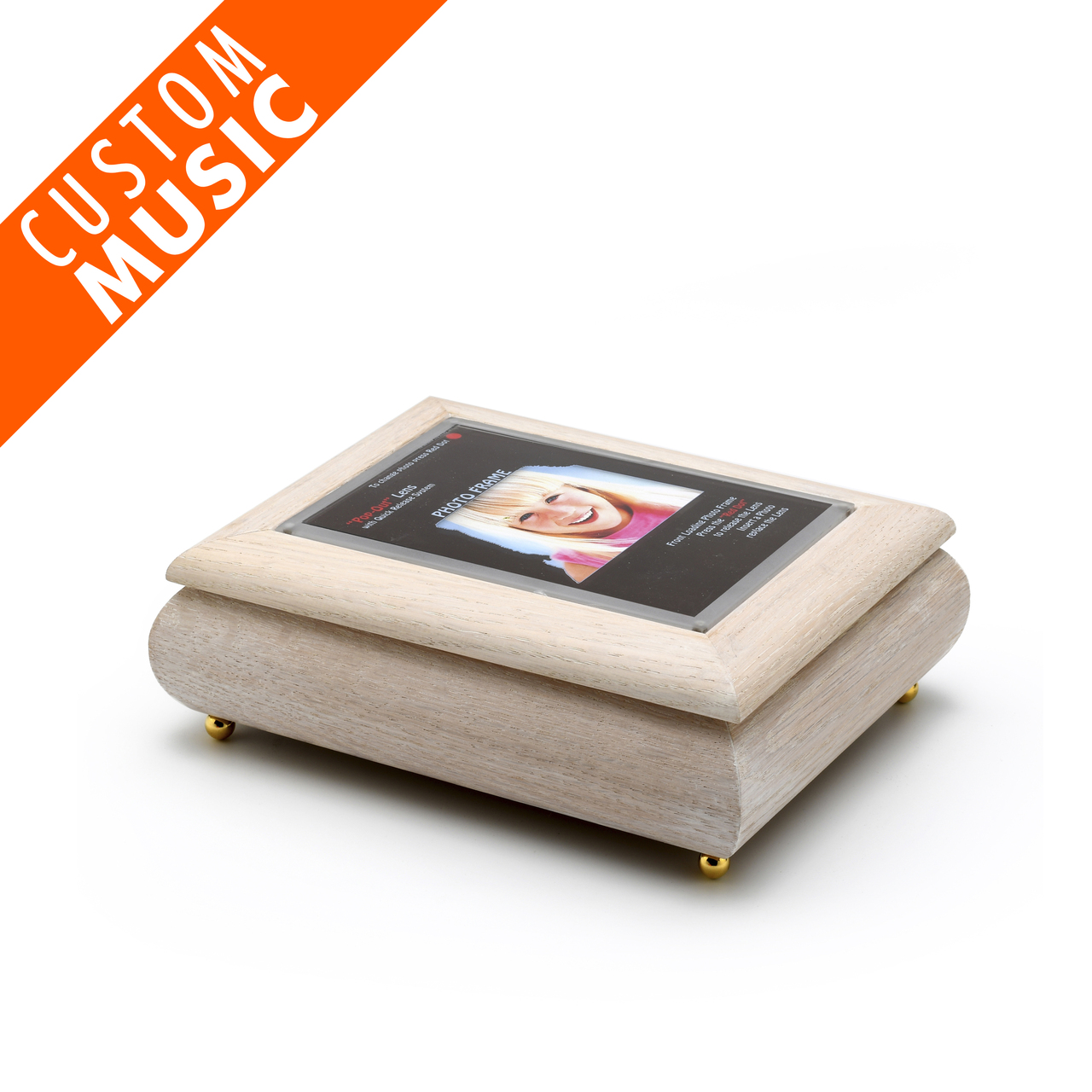 4 x 6 White Washed Custom USB Module Photo Frame Music Box