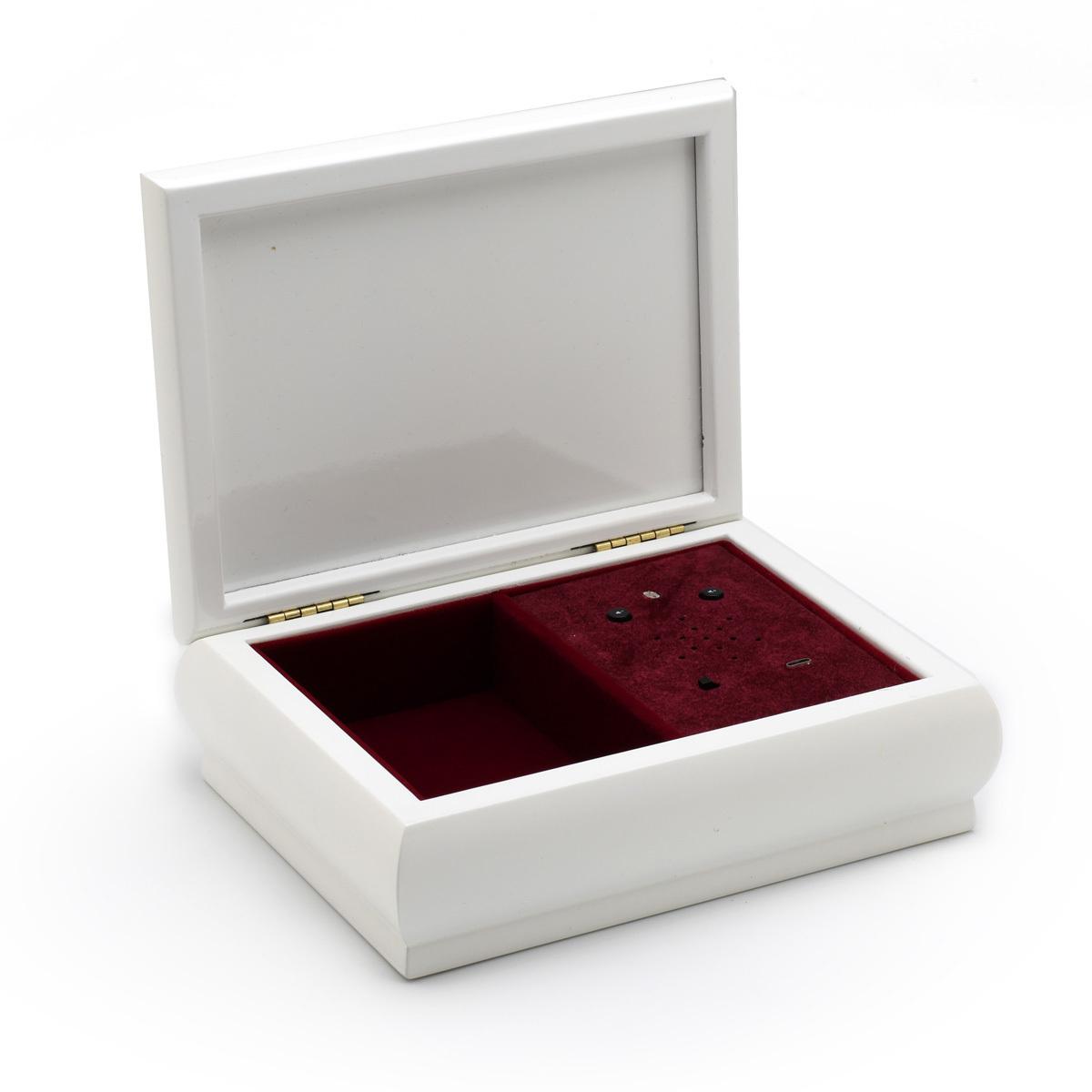 4 x 6 White Lacquer Custom USB Module Photo Frame Music Box