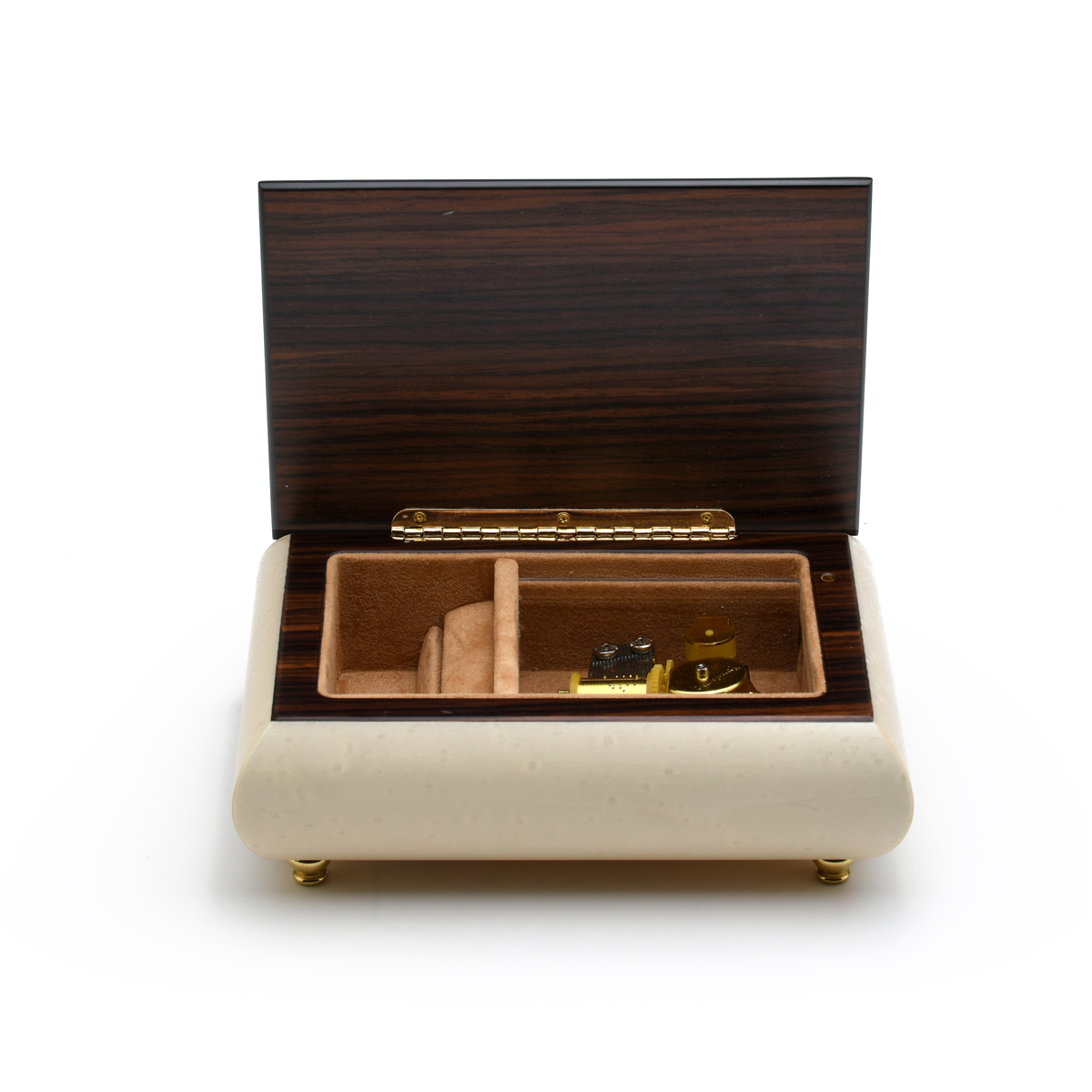 Incredible 30 Note Handcrafted White Italian Music Box with Lilies Wood Inlay