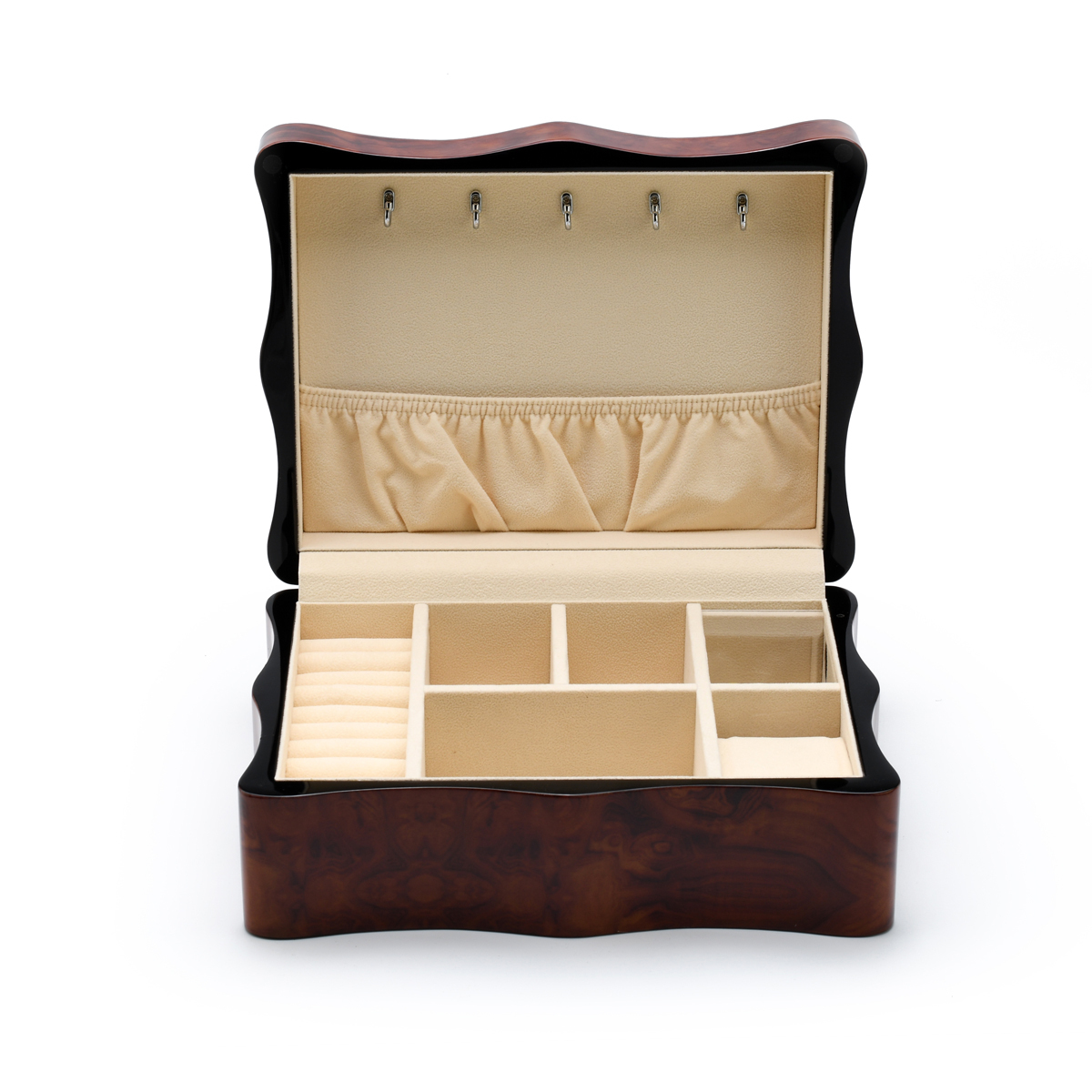 Gorgeous 18 Note Wood Stain Scalloped Shape Musical Jewelry Box