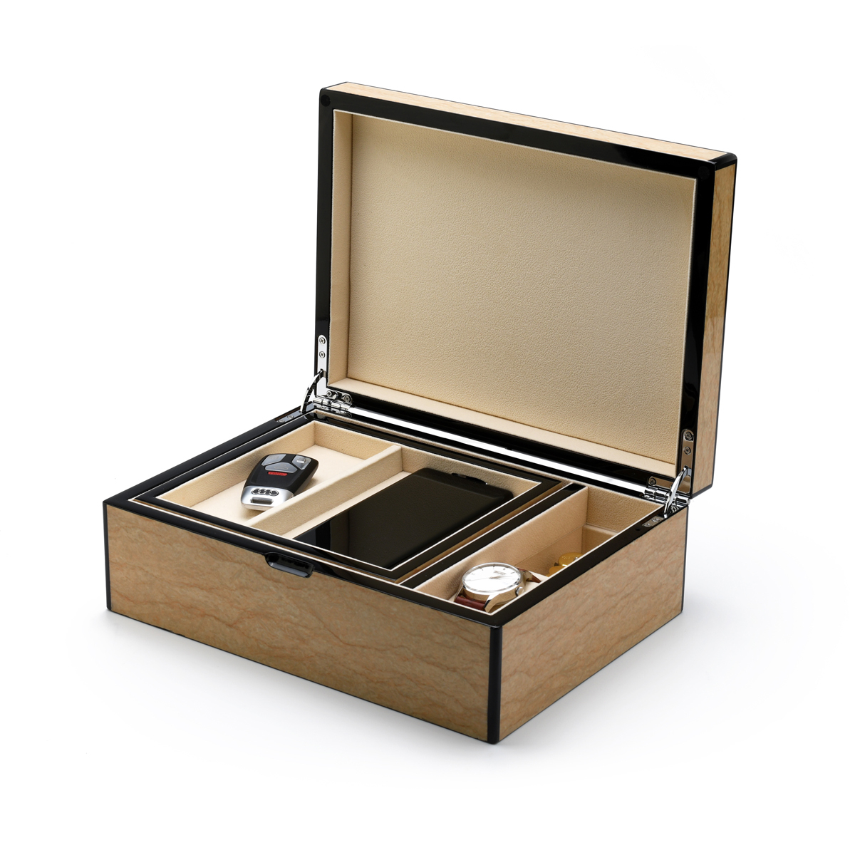 Hi-Gloss 30 Note Sand Finish Elements Collection Musical Unisex Valet / Jewelry Box