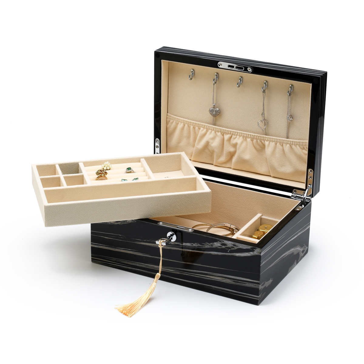Modern 18 Note Hi-gloss Granite Finish Elements Collection Musical Jewelry Box