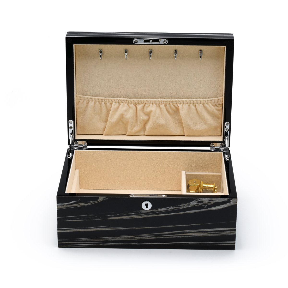 Modern 30 Note Hi-gloss Granite Finish Elements Collection Musical Jewelry Box