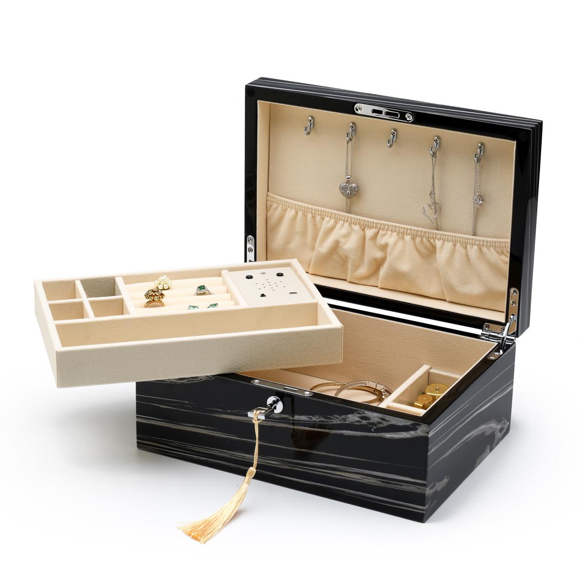 Modern Custom Tune Module Hi-gloss Granite Finish Elements Collection Musical Jewelry Box